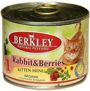 Консервы для котят Berkley №1, кролик с лесными ягодами, 200 г75150Berkley №1 - это полноценное консервированное питание для котят. Содержит нежное мясо кролика наилучшего качества с добавлением лесных ягод в ароматном бульоне. Консервы приготовлены исключительно из натурального сырья. Не содержат сои, искусственных красителей, ароматизаторов и консервантов.Товар сертифицирован.
