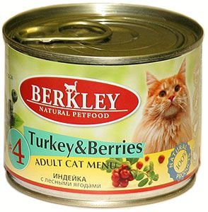 Консервы Berkley №4, для взрослых кошек, индейка с лесными ягодами, 200 г75153Консервы Berkley №4 - полноценное консервированное питание для взрослых кошек. Не содержат сои, консервантов, искусственных красителей и ароматизаторов. Корм полностью удовлетворяет ежедневные энергетические потребности животного и обеспечивает оптимальное функционирование пищеварительной системы.Товар сертифицирован.