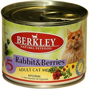 Консервы Berkley №5, для взрослых кошек, кролик с лесными ягодами, 200 г26348Консервы Berkley №5 - полноценное консервированное питание для взрослых кошек. Не содержат сои, консервантов, искусственных красителейи ароматизаторов. Корм полностью удовлетворяет ежедневные энергетические потребности животного и обеспечивает оптимальноефункционирование пищеварительной системы.Товар сертифицирован.