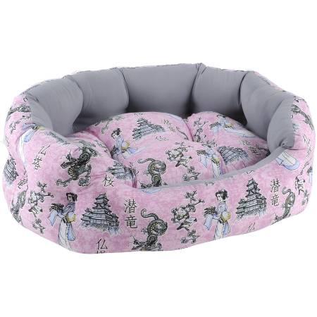 Лежак для собак и кошек FAUNA Tokyo, цвет: розовый, серый, 47 х 38 х 14 смFIDB-8010Лежак FAUNA Tokyo предназначен для собак мелких пород икошек. Изделие изготовлено из износостойкого хлопка и оформлено оригинальным принтом. Наполнитель выполнен из полиэфирного волокна. Удобный и уютный лежак оснащен высокими бортиками. Компактные размеры позволят поместить лежак, где угодно, а приятная цветовая гамма сделает его оригинальным дополнением к любому интерьеру.