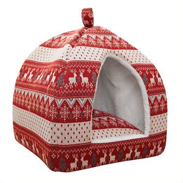 Домик для кошки Fauna  Scans Igloo , цвет: красный, белый, 35 см х 35 см х 40 см - Лежаки, домики, спальные места