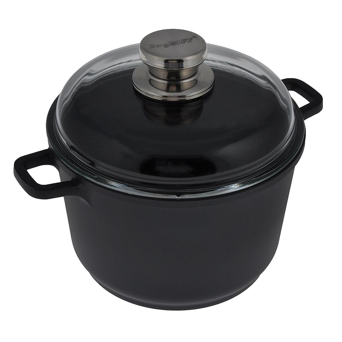 """Кастрюля BergHOFF """"Scala"""" изготовлена из литого алюминия, который имеет эффект чугунной посуды. За счет особой технологии литья дно в 2 раза толще стенок. В отличие от чугуна посуда из алюминия быстро нагревается, что гарантирует сбережение энергии, и легче по весу. Корпус кастрюли можно использовать для приготовления пищи в духовке. Внутреннее покрытие - экологически безопасное антипригарное Ferno Green. Подходит для приготовления полезных блюд, сохраняются витамины, минералы. Эргономичные ручки обеспечивают безопасный захват и удобство в поднятии изделий. В комплект входит жаропрочная стеклянная крышка с ручкой, которая плотно прилегает к кастрюле.Легко моется (с помощью бумажного полотенца или влажной тряпочки).  Подходит для использования на всех типах плит (газовых, электрических, галогеновых, стеклокерамических), включая индукционные. Рекомендуется мыть вручную. Диаметр кастрюли: 20 см. Высота стенки кастрюли: 13,5 см. Ширина кастрюли (с учетом ручек): 28 см. Толщина стенки: 3 мм. Толщина дна: 6 мм."""
