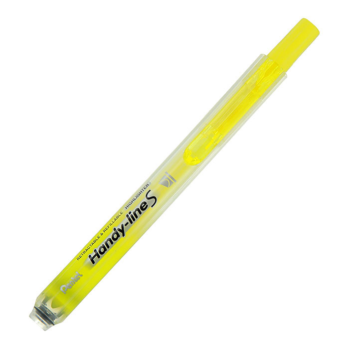Pentel Текстовыделитель Handy-Lines, цвет: желтыйPSXS15-GТекстовыделитель Handy-Lines с функцией чистый карман желтого цвета станет незаменимым как на столе школьника, так и студента. Стержень автоматически убирается при нажатии на кнопку. Такой маркер никогда не испачкает вашу одежду!Обеспечивает ровные четкие линии толщиной 1,0-4,5 мм.