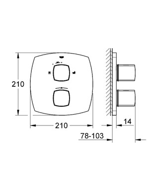 Комплект верхней монтажной части для 35 500 000 Без встраиваемого механизма GROHE StarLight хромированная поверхность  Стопор безопасности при 38° C и дополнительный ограничитель температуры воды до 43° C GROHE AquaDimmer Plus многофункциональный затвор воды и регулятор расхода Переключатель: ручной душ/излив для ванны Встроенная Eco-кнопка с функцией Eco-Stop для душа С настенными розетками GROHE QuickFix ( скрытые эксцентрики, уплотнение, скрытый монтаж) Металлические рукоятки Минимальное давление 1,0 бар