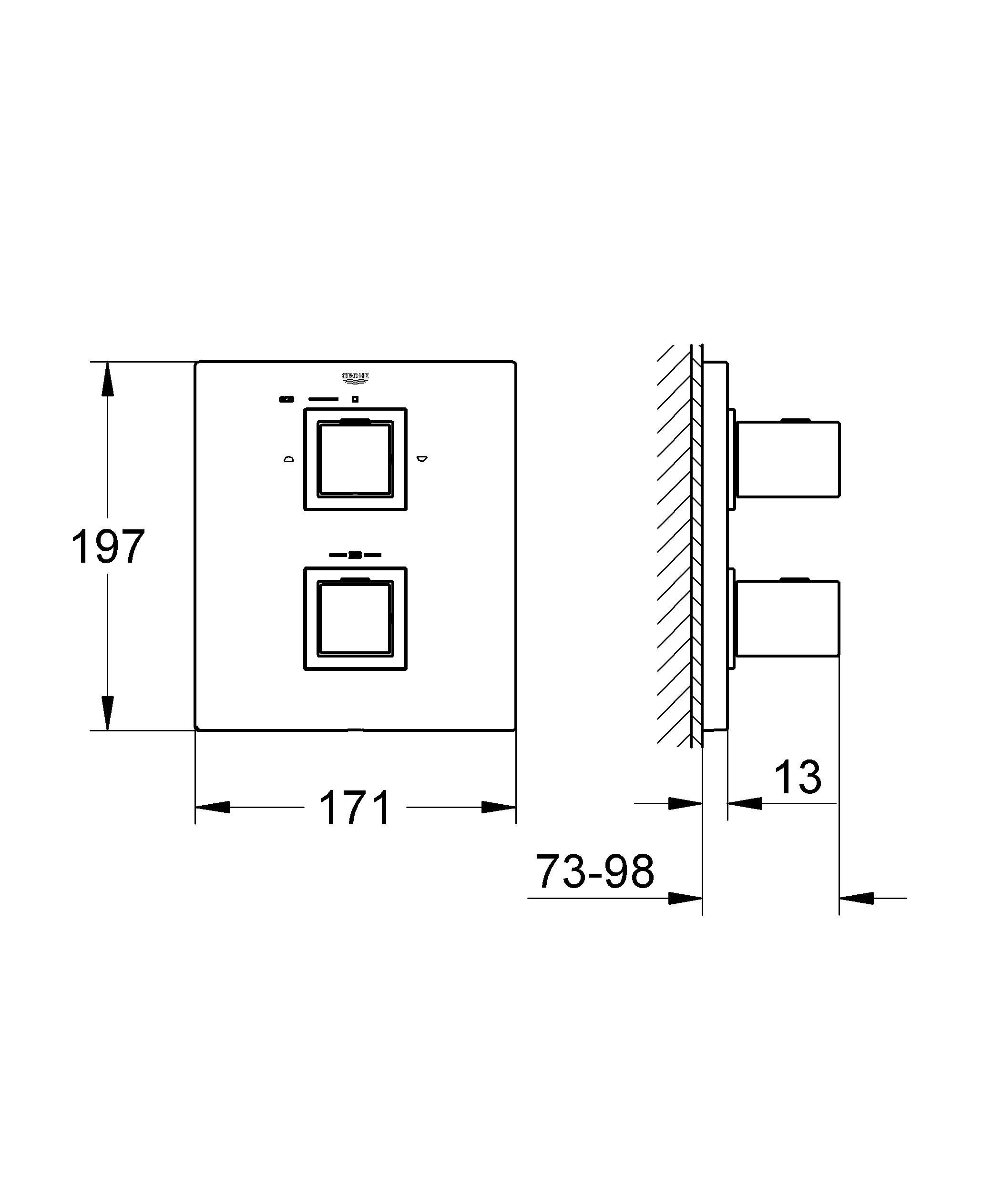 GROHE Grohtherm Cube: комплект наружной части для настенного монтажа, с эффектным дизайном и великолепными рабочими характеристиками Этот блок управления с глянцевым покрытием гармонично сочетается с оборудованием серии GROHE Eurocube. Рукоятки кубической формы отличаются великолепной эргономикой и обеспечивают точность управления, позволяя с легкостью регулировать температуру и напор воды. Регулятор AquaDimmer Eco позволяет плавно перенаправлять поток воды между выпуском для ванны и душем либо между верхним и ручным душами. Стопор SafeStop оберегает Вас от ошпаривания, предотвращая случайное увеличение температуры, а переключатель EcoButton позволяет перевести душ в режим ограниченного расхода воды. Система монтажа GROHE QuickFix позволит быстро установить данное оборудование. Если Вам нравится строгий дизайн, основанный на четких линиях, выберите для преображения своей ванной комнаты данный термостат. Пожалуйста, обратите внимание на то, что данный комплект оборудования для настенного монтажа должен устанавливаться в комбинации со встраиваемым термостатом GROHE Rapido T (35500000). За счет технологии GROHE TurboStat, лежащей в основе его конструкции, данный термостат обеспечивает подачу воды заданной температуры уже через долю секунды, а также надежно поддерживает заданную температуру воды. Особенности:  Комплект верхней монтажной части для GROHE Rapido T 35 500 000 Без встраиваемого механизма GROHE StarLight хромированная поверхность  Стопор безопасности при 38°C GROHE AquaDimmer Plus многофункциональный - регулировка расхода - переключатель: ванна/душ - GROHE EcoButton (встроенная кнопка с функцией экономии воды для душа)