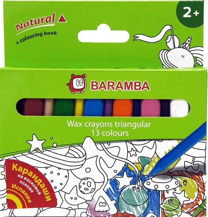 Набор восковых треугольных карандашей в картонной коробке 13 шт +внутренний вкладыш-раскраска Для детей от 2х лет!