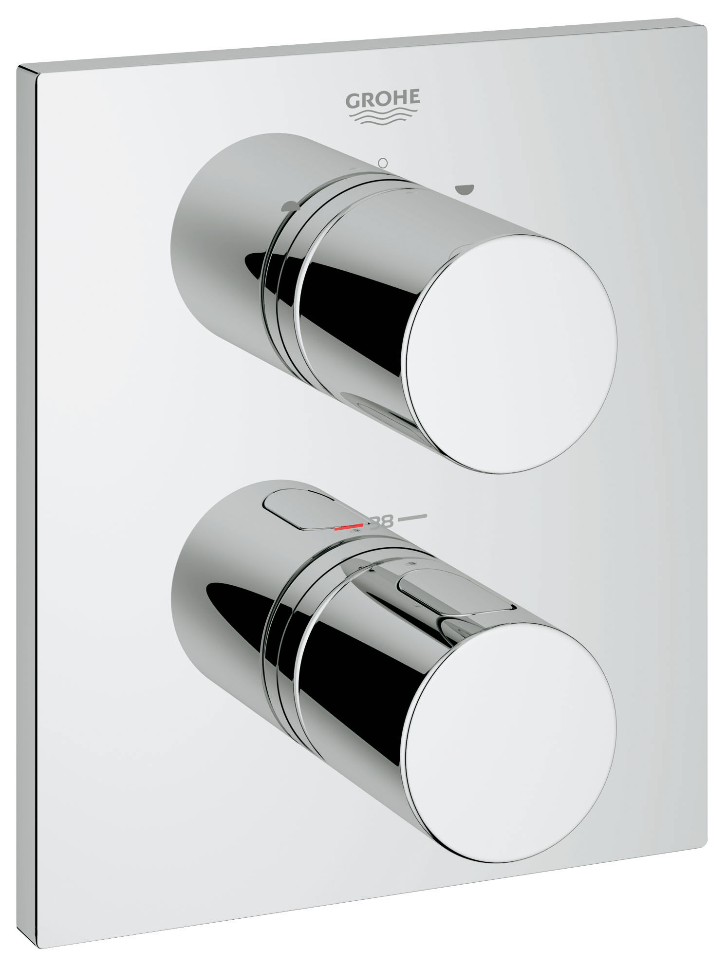 Термостатический смеситель для ванны GROHE Grohtherm 3000 Cosmopolitan (внешняя панель для арт. 35500000) (19567000)CD16093CКомплект верхней монтажной части для GROHE Rapido T 35 500 000 Без встраиваемого механизма GROHE StarLight хромированная поверхностьСтопор безопасности при 38°C Аквадиммер многофункциональный: Затвор воды и регулятор расхода Переключатель на 2 положения Прямоугольная настенная металлическаяРозетка со скрытым креплением иУплотнителем