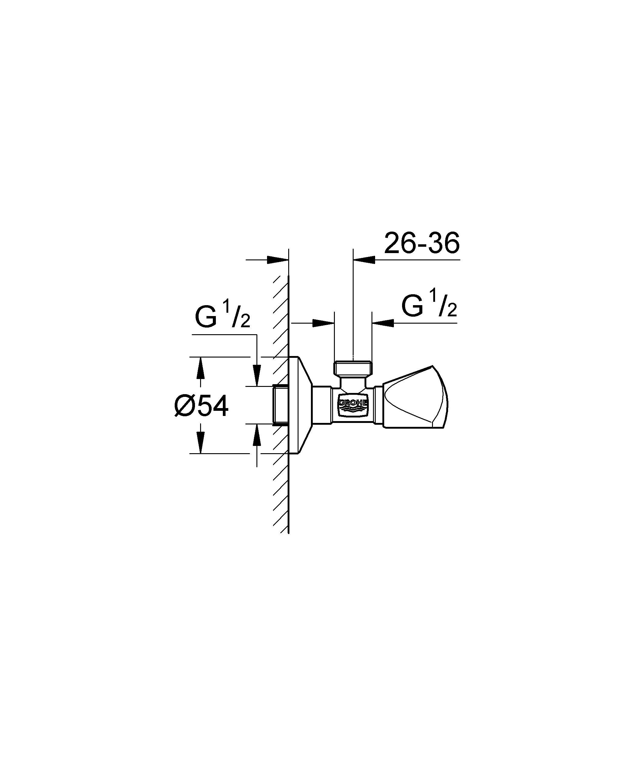 """TDL рукоятка. маркировка: нейтральная. цанговый зажим 1/2"""". для медной трубочки O 10 мм. надвижная розетка. GROHE StarLight хромированная поверхность. Резьба подключения: наружная."""