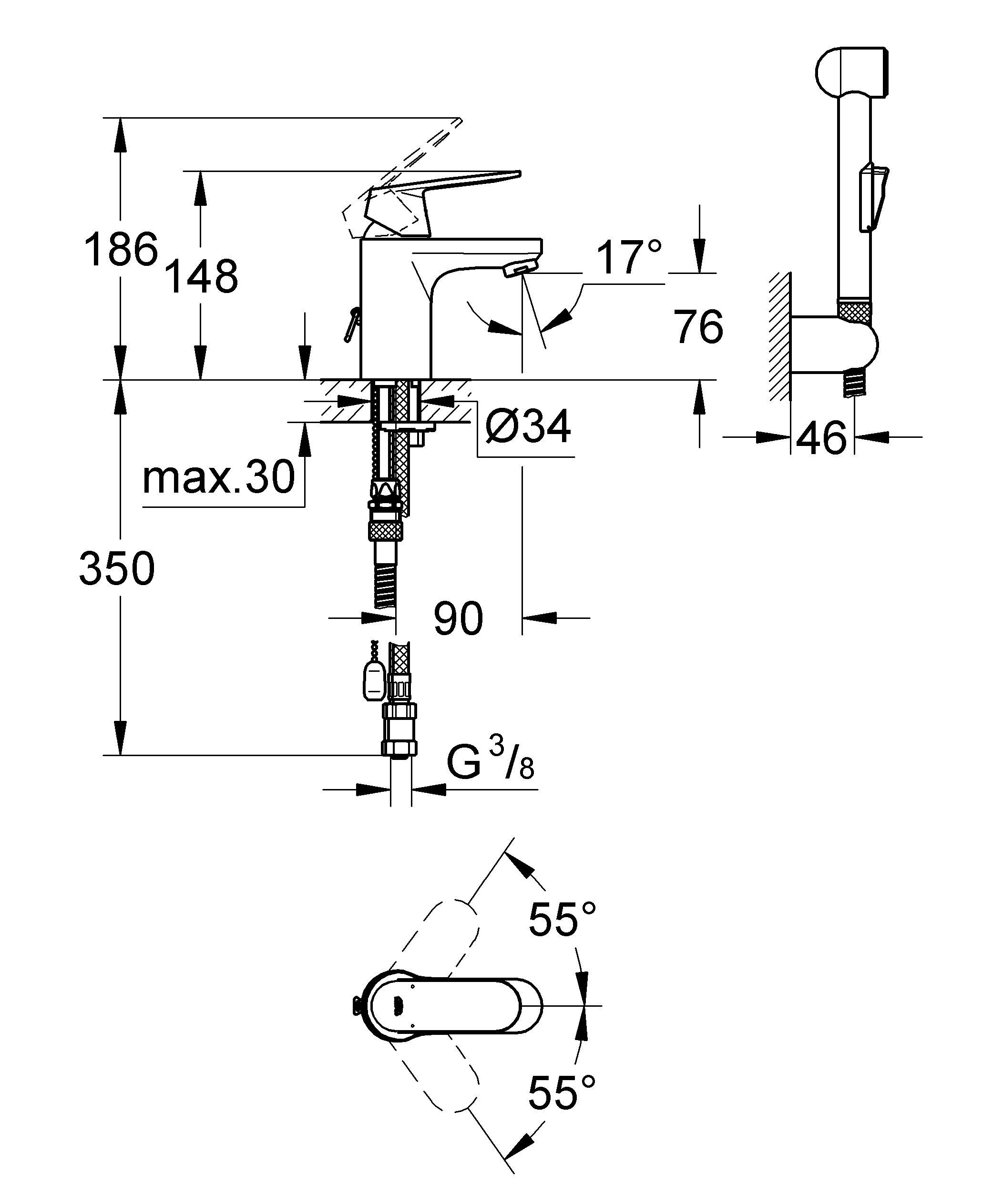 Монтаж на одно отверстие Металлический рычаг GROHE SilkMove керамический картридж 35 мм GROHE StarLight хромированная поверхность  Регулировка расхода воды Возможность установки мин. расхода 2,5 л/мин. Аэратор Цепочка Гибкая подводка Система быстрого монтажа Дополнительный ограничитель температуры С душевым набором, состоящим из: - душ со встроенным переключателем - настенный держатель душа - душевой шланг