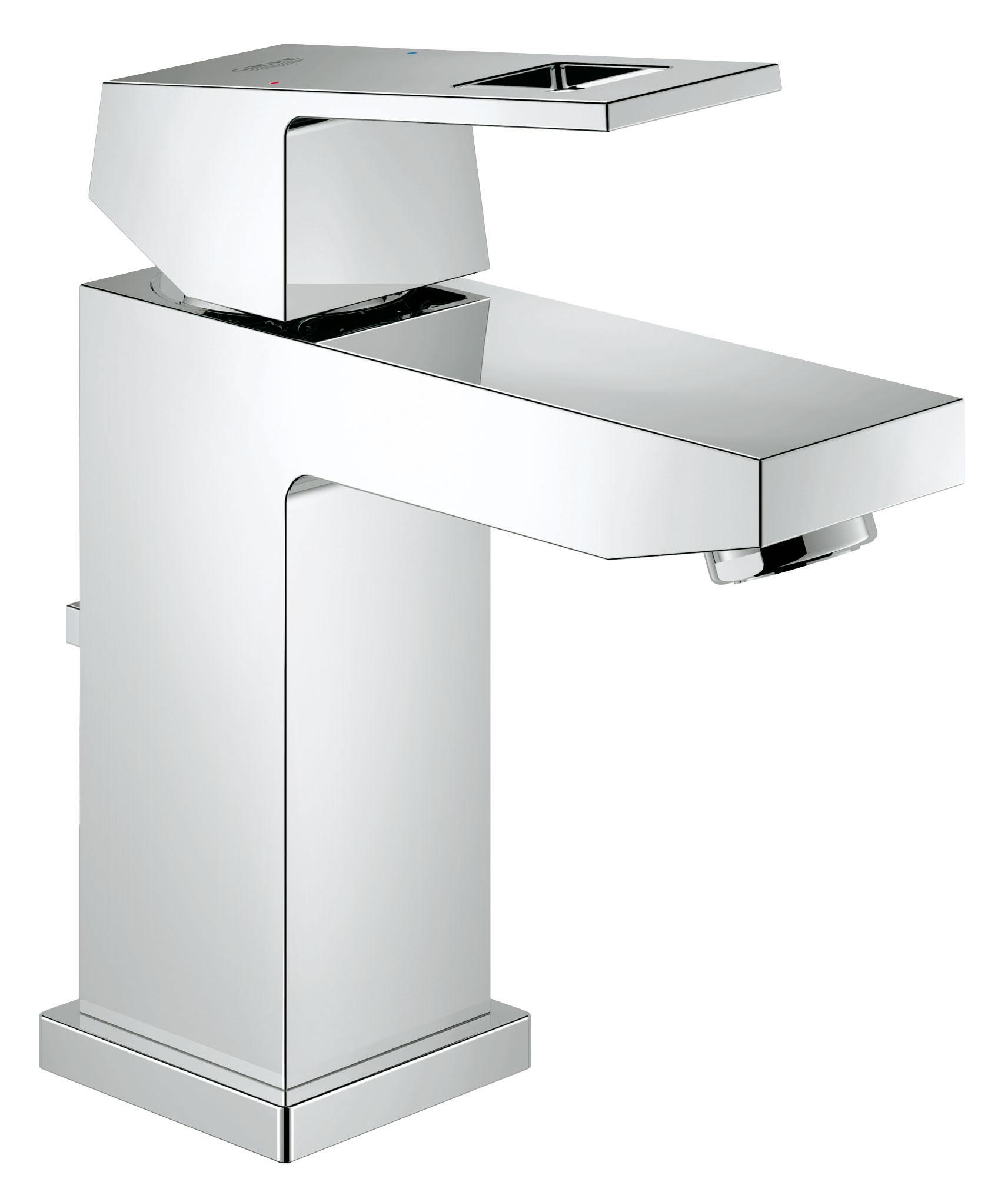 Смеситель для ванной комнаты с неповторимым дизайном Этот смеситель для раковины из коллекции Eurocube отличается ярко выраженным силуэтом, благодаря которому он станет эффектным дополнением к интерьеру Вашей ванной комнаты. Оригинальное дизайнерское решение с применением кубовидных форм сочетается в нем с разнообразием не менее привлекательных и полезных функциональных элементов. Этот однорычажный смеситель имеет оптимальную высоту для комфортной эксплуатации в комбинации со всеми стандартными раковинами. С помощью подъемного штока, встроенного в корпус смесителя сзади, можно легко открывать и закрывать сливной клапан. В конструкции рычага смесителя применяется технология GROHE SilkMove, благодаря которой он имеет чрезвычайно плавный ход и дает возможность с легкостью управлять температурой и напором воды. Система GROHE QuickFix Plus поможет осуществить монтаж смесителя быстро и легко. Благодаря износостойкому хромированному покрытию GROHE StarLight этот смеситель для раковины станет настоящим украшением интерьера Вашей ванной комнаты и сохранит свой потрясающий блеск на долгие годы. Особенности:   Монтаж на одно отверстие  Металлический рычаг  GROHE SilkMove керамический картридж 28 мм  GROHE StarLight хромированная поверхность   Аэратор  Сливной гарнитур 1 1/4?  Гибкая подводка  Монтажная система GROHE QuickFix™ Plus  Ограничитель температуры   Видео по установке является исключительно информационным. Установка должна проводиться профессионалами!
