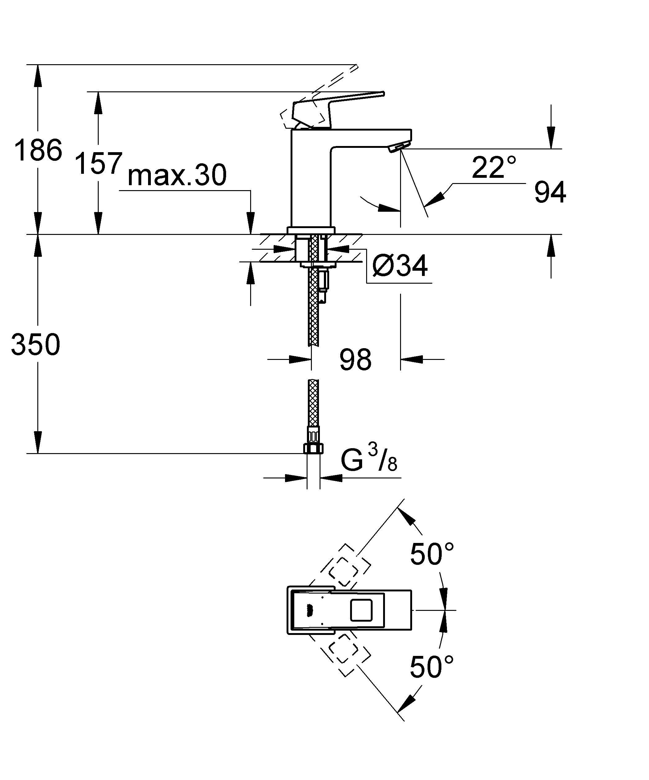 Изящный смеситель с цельным корпусом Если Вам не требуется встроенный механизм сливного клапана, то данный смеситель для раковины идеально Вам подойдет. Он является характерным представителем коллекции GROHE Eurocube с точки зрения дизайна и изготавливается с сияющим хромированным покрытием GROHE StarLight. Он комплектуется изливом стандартной высоты и сочетается со всеми раковинами классического типа, обеспечивая при этом достаточно пространства для повседневных гигиенических процедур, таких как чистка зубов. В конструкции картриджа этого однорычажного смесителя применяется проверенная временем технология GROHE SilkMove, благодаря которой рычаг плавно движется во всех направлениях и дает возможность с легкостью управлять температурой и напором воды. Система монтажа GROHE QuickFix Plus поможет Вам выполнить установку своего нового смесителя быстро и легко. Благодаря своему изысканному и неброскому дизайну, а также функциональному совершенству, этот смеситель сделает оформление и оснащение Вашей ванной комнаты более стильным и комфортным. Особенности:   Монтаж на одно отверстие  Металлический рычаг  GROHE SilkMove керамический картридж 28 мм  GROHE StarLight хромированная поверхность   Аэратор  Гладкий корпус  Гибкая подводка  Монтажная система GROHE QuickFix Plus  Ограничитель температуры   Видео по установке является исключительно информационным. Установка должна проводиться профессионалами!