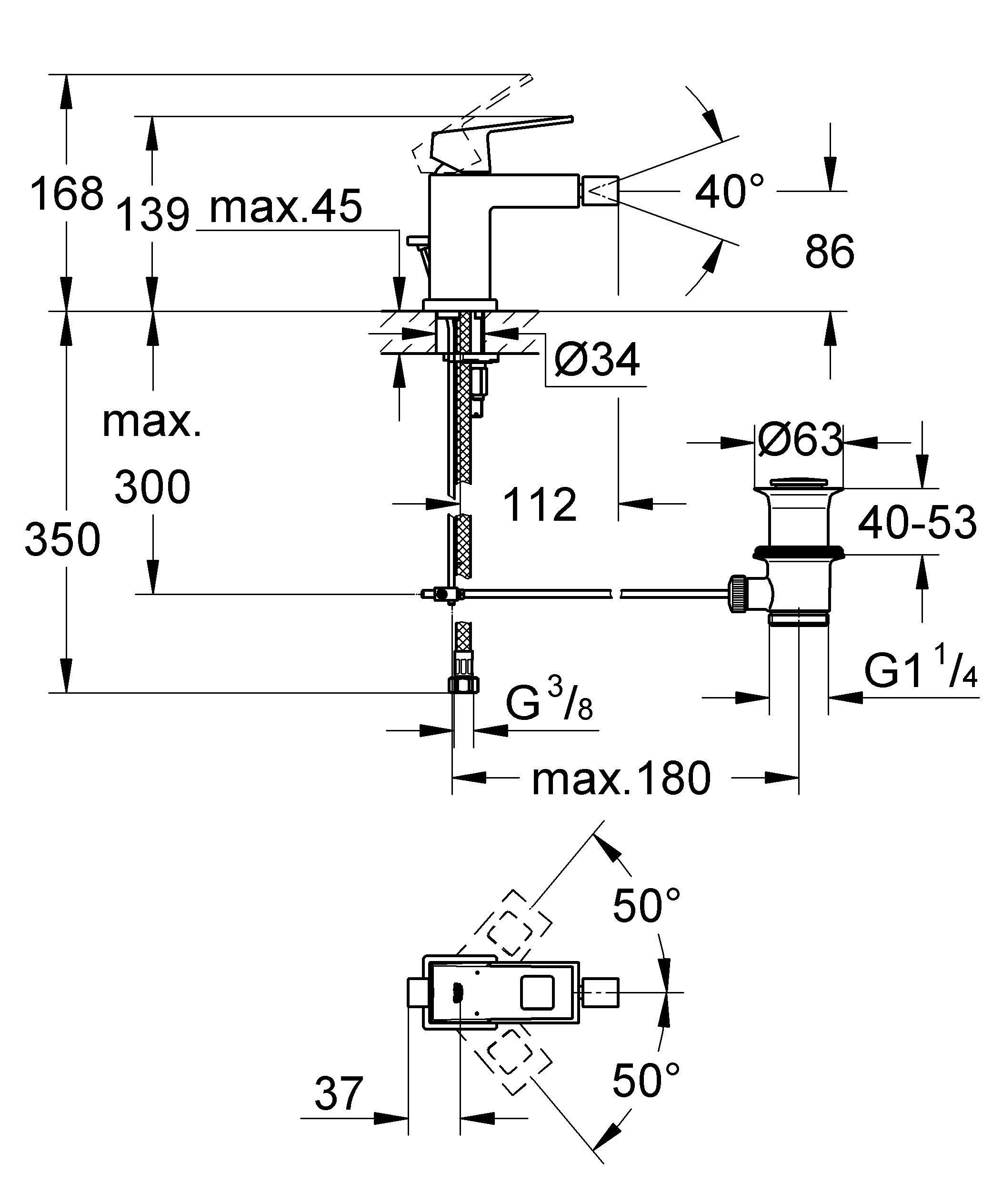 Смеситель для биде с изливом на шарнирном соединении, обеспечивающем удобство и комфорт Этот смеситель для биде из коллекции GROHE Eurocube располагает многообразием практичных функций, которые обеспечат Вам комфорт при пользовании ванной комнатой. Излив на шарнирном соединении позволит Вам точно контролировать направление струи воды, а встроенный в смеситель подъемный шток – легко открывать и закрывать сливной клапан. В конструкции данного однорычажного смесителя применяется технология GROHE SilkMove, которая обеспечивает плавное и не требующее усилий управление температурой и напором струи воды. Система монтажа GROHE QuickFix Plus позволит выполнить установку смесителя быстро и легко. Благодаря износостойкому хромированному покрытию GROHE StarLight Ваш смеситель сохранит свой потрясающий блеск даже после многих лет эксплуатации. Особенности:   Монтаж на одно отверстие  Металлический рычаг  GROHE SilkMove керамический картридж 28 мм  GROHE StarLight хромированная поверхность   Аэратор с шаровым шарниром  Сливной гарнитур 1 1/4?  Гибкая подводка  Монтажная система GROHE QuickFix™ Plus  Ограничитель температуры  хром.