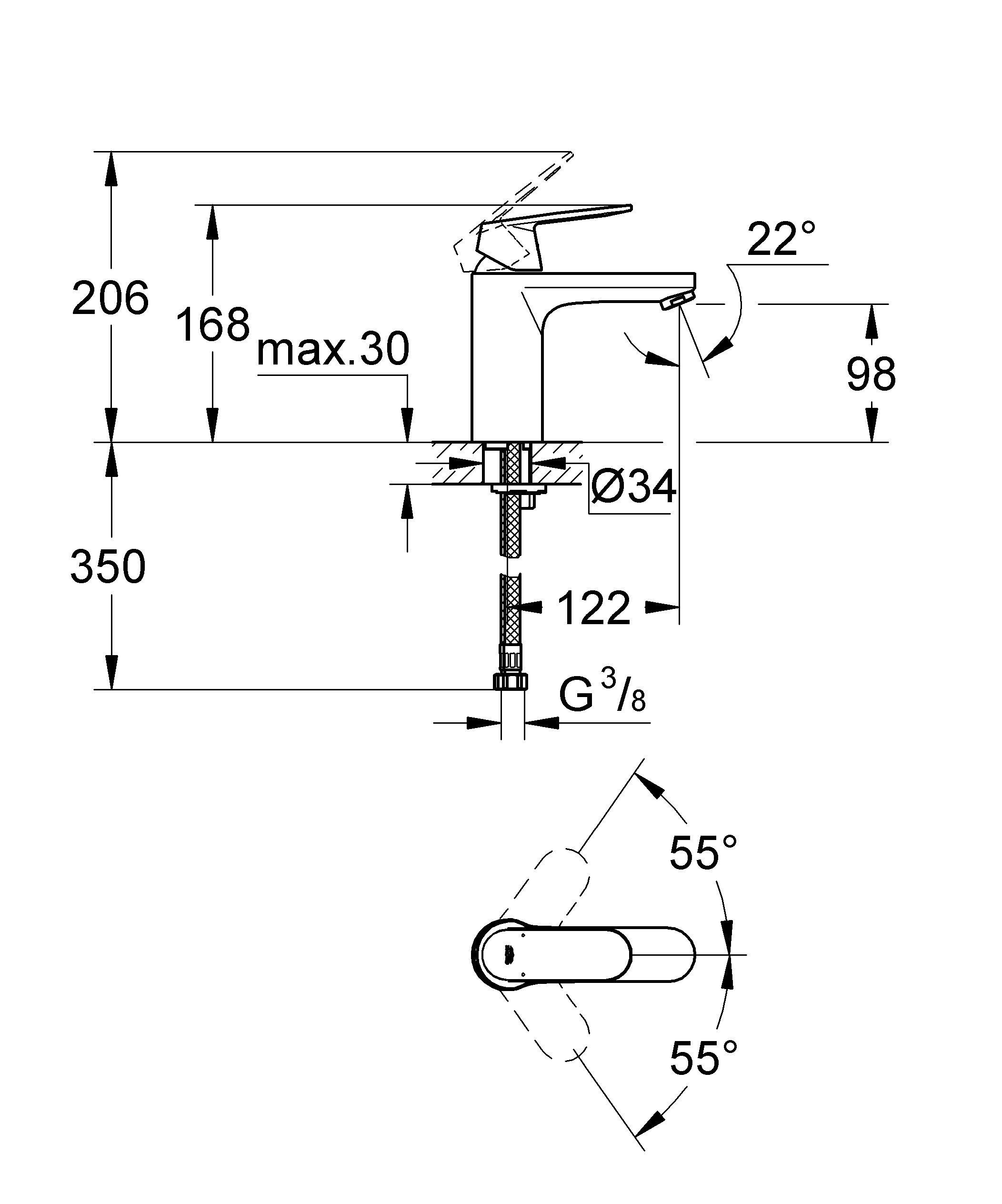 Смеситель для ванной комнаты GROHE Eurosmart Cosmopolitan наделен всеми преимуществами современного сантехнического оборудования. Во-первых, это экономичность: в нем применяется технология GROHE EcoJoy, позволяющая сократить расход воды почти вдвое. Во-вторых, это неприхотливость в уходе: для поддержания сияющего блеска хромированной поверхности достаточно протирать ее тканью. В-третьих, это долговечность: проверенное временем качество GROHE проявляется, в частности, в том, что чрезвычайно плавный ход рычага сохраняется даже после многолетней эксплуатации. Оцените на собственном опыте изящество и комфортность смесителя для ванной комнаты Eurosmart Cosmopolitan! Особенности   монтаж на одно отверстие  средняя высота  металлический рычаг  GROHE SilkMove керамический картридж 35 мм  GROHE StarLight хромированная поверхность  регулировка расхода воды  GROHE EcoJoy 5,7 л/мин  гладкий корпус  гибкая подводка  GROHE QuickFix быстрая монтажная система  дополнительный ограничитель температуры (46375000)   Видео по установке является исключительно информационным. Установка должна проводиться профессионалами!