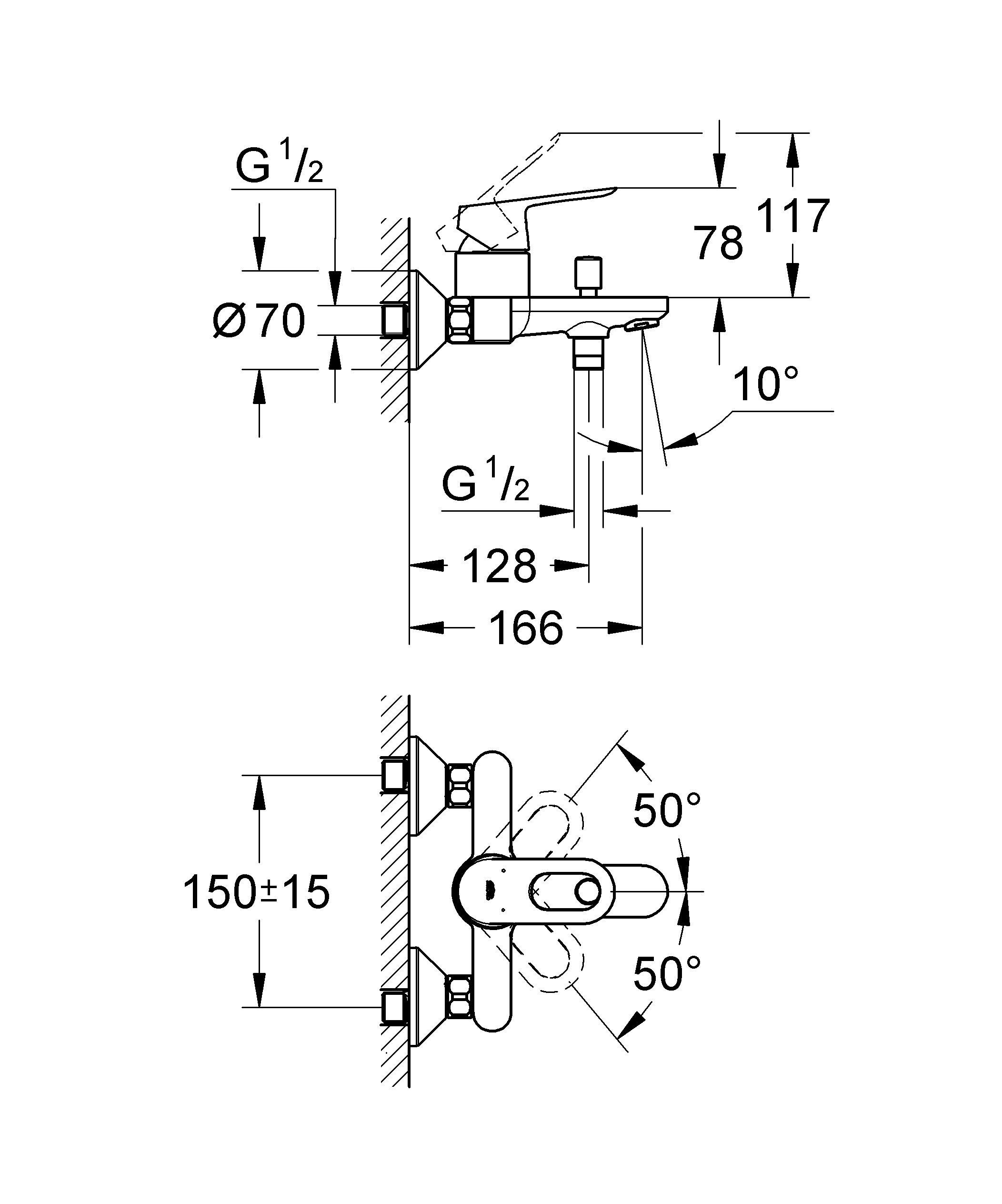 Настенный монтаж  Металлический рычаг  GROHE SilkMove керамический картридж O 46 мм  GROHE StarLight хромированная поверхность   Регулировка расхода воды  Автоматический переключатель: ванна/душ  Отвод для душа снизу 1/2? со встроенным обратным клапаном  Аэратор  Скрытые S-образные эксцентрики  Отражатель из металла  Дополнительный ограничитель температуры (46 308 000)    Видео по установке является исключительно информационным. Установка должна проводиться профессионалами!