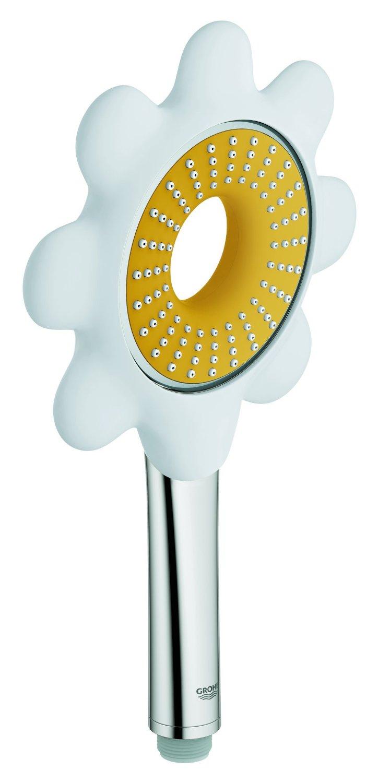 Ручной душ GROHE Rainshower Icon, цвет: желтый/белый (ромашка) (26115YF0)26115YF0Душевая струя Rain O 100 мм С желтой или белой насадкой в форме цветка Угловой переходник для комбинации ручныхДушей с душевыми гарнитурами GROHE EcoJoy ограничитель расхода воды 9,5 л/минGROHE DreamSpray превосходный поток воды GROHE StarLight хромированная поверхностьС системой SpeedClean против известковых отложений Внутренний охлаждающий канал для продолжительного срока службы Может использоваться с проточным водонагревателемВидео по установке является исключительно информационным. Установка должна проводиться профессионалами!
