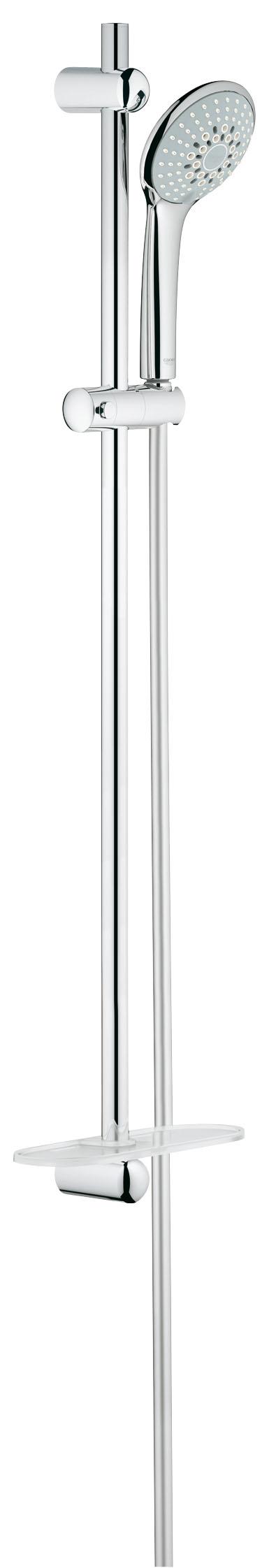 Душевой комплект GROHE Euphoria, штанга 900мм. (27227001)27227001Включает в себя: Ручной душ Champagne (27 222 000) Душевая штанга 900 мм (27 500 000) GROHE QuickFix(регулируемое расстояние между настенными креплениями штанги позволяет использовать для монтажа уже имеющиеся отверстия в стене) Душевой шланг 1750 мм (28 388 000) Полочка GROHE EasyReach™(27 596 000) GROHE DreamSpray превосходный поток воды GROHE SprayDimmer GROHE StarLight хромированная поверхностьС системой SpeedClean против известковых отложений Внутренний охлаждающий канал для продолжительного срока службы Twistfree против перекручивания шлангаВидео по установке является исключительно информационным. Установка должна проводиться профессионалами!