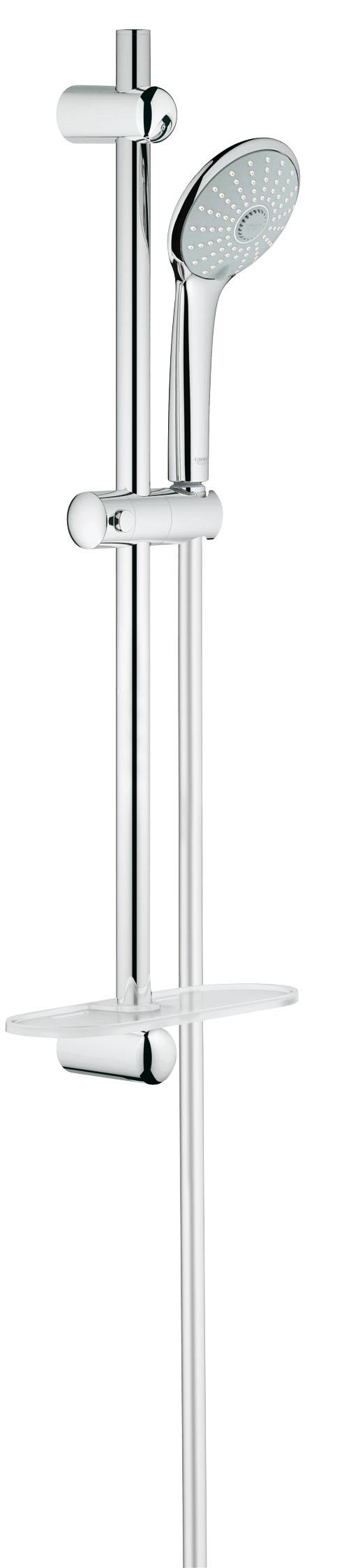 Душевой комплект GROHE Euphoria, штанга 600 мм. (27231001)27231001GROHE Euphoria 110 Massage: душевой гарнитур со штангой для бесподобно расслабляющих душевых процедур Этот ручной душ располагает приятным дополнением к стандартному режиму Rain и его водосберегающей версии SmartRain, а именно расслабляющим режимом Massage, в котором вода подается пульсирующей струей, позволяющей сделать приятный массаж, например, головы и шеи. Наслаждайтесь расслабляющими душевыми процедурами, установив в своей ванной комнате этот душевой гарнитур со множеством достоинств: к примеру, с помощью системы QuickFix Вы сможете быстро и легко установить входящую в комплект 600-миллиметровую душевую штангу, используя имеющиеся отверстия в стене или просверлив новые в межплиточных швах. В комплект входит шланг TwistFree, с которым Вы забудете о распутывании перекрученных душевых шлангов. Благодаря системе предотвращения известкования SpeedClean и хромированному покрытию GROHE StarLight данный гарнитур чрезвычайно неприхотлив в уходе и никогда не утратит своего ослепительного блеска. Комплектацию этого гарнитура идеальным образом дополняет полочка GROHE EasyReach, с которой шампунь и гель для душа всегда будут у Вас под рукой.Особенности:Включает в себя: Ручной душ Massage (27 221 000) Душевая штанга, 600 мм (27 499 000) GROHE QuickFix (регулируемое расстояние между настеннымиКреплениями штанги позволяет использовать для монтажаУже имеющиеся отверстия в стене)Душевой шланг 1750 мм (28 388 000) Полочка GROHE EasyReach™(27 596 000) GROHE DreamSpray превосходный поток воды GROHE SprayDimmer GROHE StarLight хромированная поверхностьС системой SpeedClean против известковых отложений Внутренний охлаждающий канал для продолжительного срока службы Twistfree против перекручивания шлангаВидео по установке является исключительно информационным. Установка должна проводиться профессионалами!