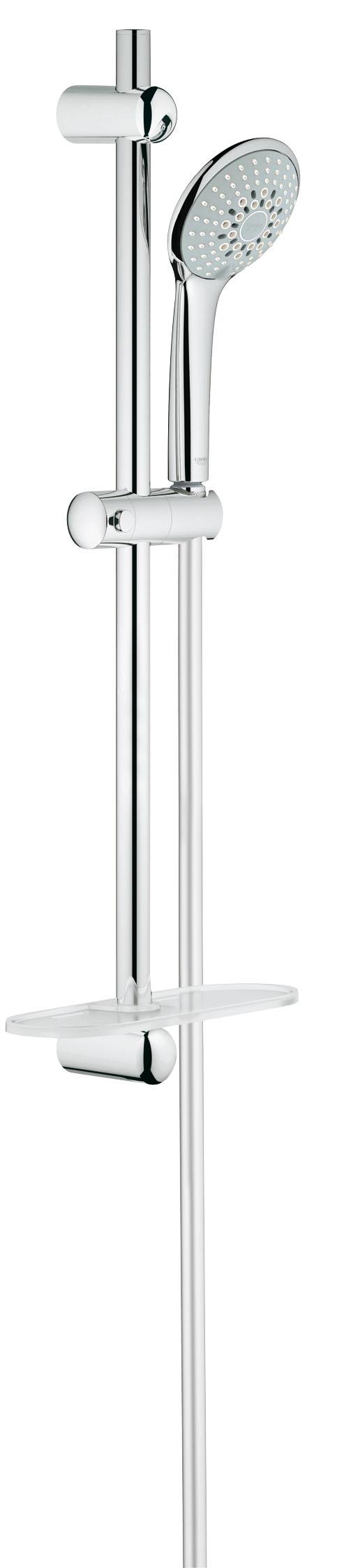 Душевой комплект GROHE Euphoria, штанга 600мм. (27232001)27232001GROHE Euphoria 110 Champagne: стильный душевой гарнитур со штангой для роскошных душевых процедур В дополнение к режимам Rain и SmartRain, данный ручной душ из серии GROHE Euphoria также оснащен роскошным режимом струи Champagne, в котором воздух затягивается в душевую головку и смешивается с водой. При этом создается чрезвычайно расслабляющий и нежный поток воды, окутывающий Вас с головы до ног. Данный ручной душ комплектуется душевой штангой длиной 600 мм, а также запатентованной системой крепления QuickFix, которая позволяет быстро и легко осуществить монтаж, используя имеющиеся отверстия в стене или просверлив новые в межплиточных швах. Благодаря входящему в комплект шлангу TwistFree распутывание перекрученных душевых шлангов останется для Вас в прошлом. Износостойкое покрытие GROHE StarLight чрезвычайно неприхотливо в уходе. В комплект входит еще один удобный аксессуар – полочка GROHE EasyReach, с которой шампунь и гель для душа всегда будут под рукой. Особенности: Включает в себя:Ручной душ Champagne (27 222 000)Душевая штанга, 600 мм (27 499 000)GROHE QuickFix (регулируемое расстояние между настенными креплениями штанги позволяет использовать для монтажа уже имеющиеся отверстия в стене)Душевой шланг 1750 мм (28 388 000)Полочка GROHE EasyReach™(27 596 000)GROHE DreamSpray превосходный поток водыGROHE SprayDimmerGROHE StarLight хромированная поверхность С системой SpeedClean против известковых отложенийВнутренний охлаждающий канал для продолжительного срока службыTwistfree против перекручивания шлангаВидео по установке является исключительно информационным. Установка должна проводиться профессионалами!