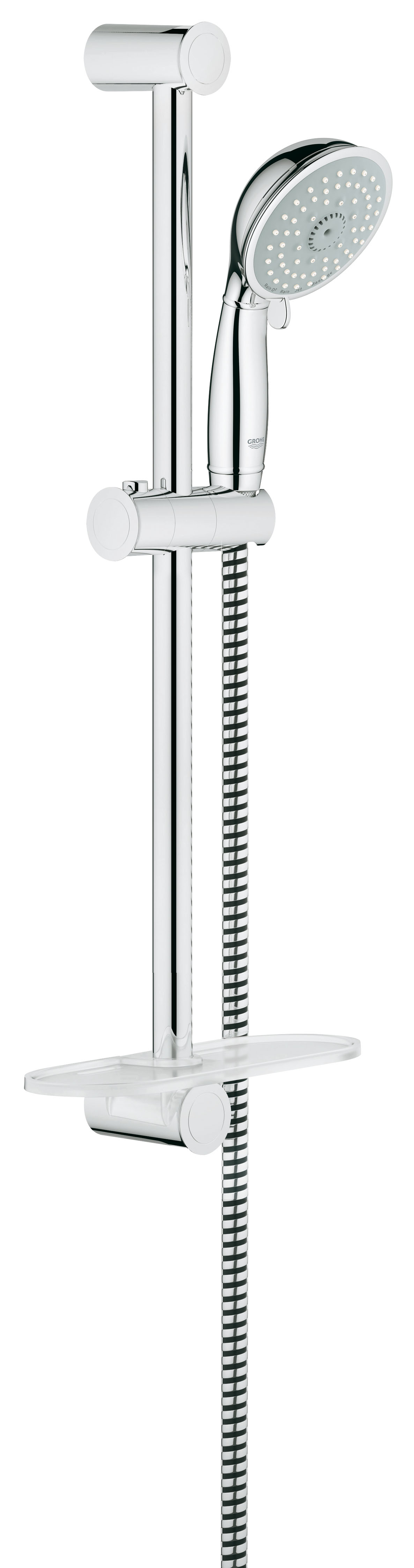 Душевой комплект GROHE New Tempesta, штанга 600 мм. (27609000)27609000Душевой комплект GROHE New Tempesta включает в себя: ручной душ, душевую штангу 600 мм, душевой шланг 1750 мм, и полочку GROHE EasyReach. Технология SpeedClean предотвращает известковые отложения, а внутренний охлаждающий канал значительно продлевает срок службы. Система Twistfree препятствует перекручиванию шланга. Технология Grohe EcoJoy позволяет уменьшать расход воды до 9,5 л/мин. Данная модель подходит для проточных водонагревателей.