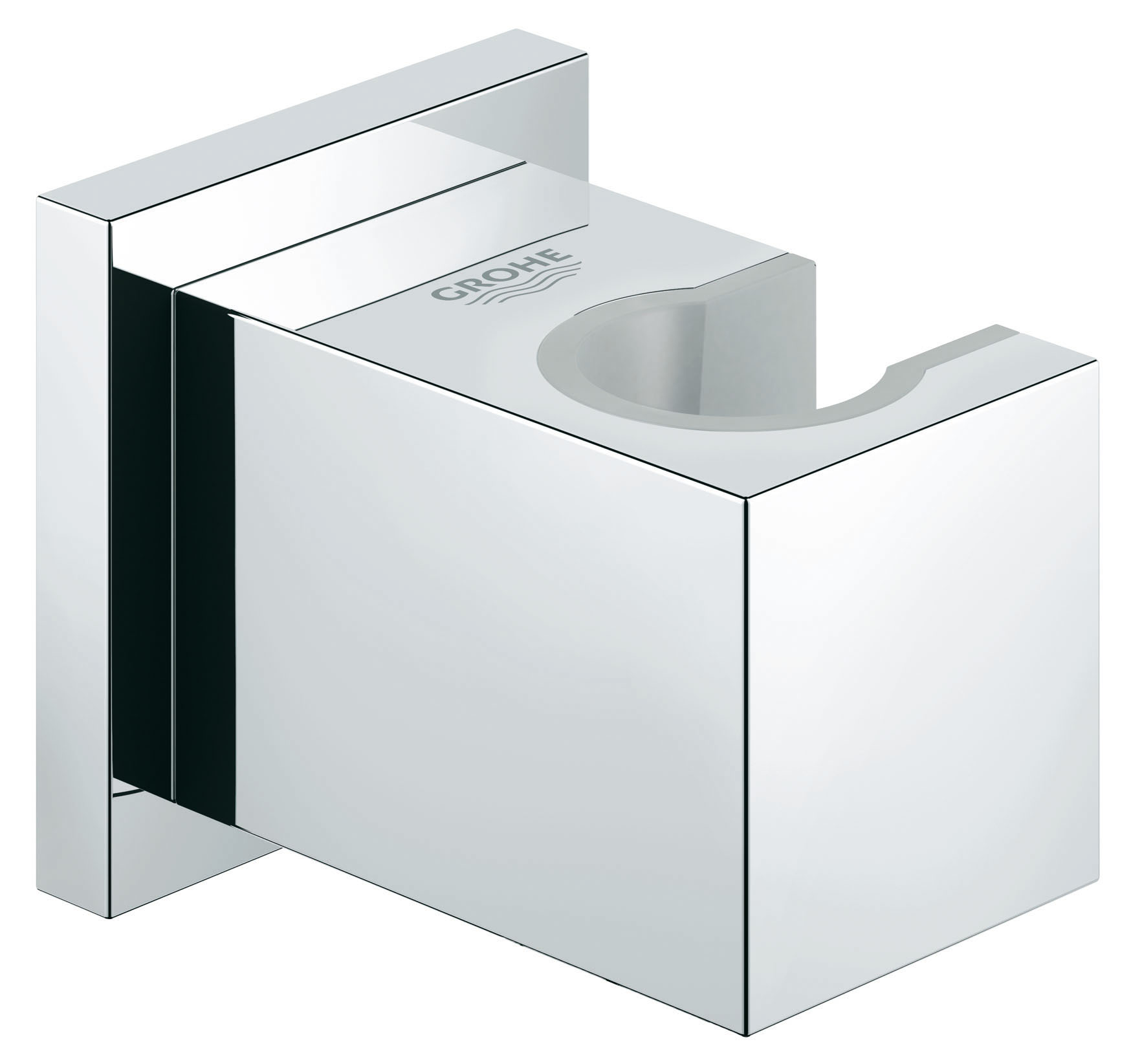 """Держатель душевой лейки Grohe """"Euphoria Cube"""" изготовлен из высококачественной латуни с надежным хромированным покрытием, которое гарантирует идеальный зеркальный блеск и защиту изделия на долгий срок."""