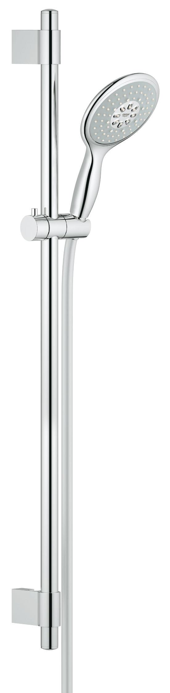 Душевой гарнитур Grohe Power&Soul 130, 4 режима, 9,5 л/мин. (27738000)27738000Помимо ручного душа из коллекции Power&Soul, в комплект данного душевого гарнитура также входит душевая штанга длиной 900 мм с адаптивными металлическими креплениями для настенного монтажа. Душевая головка располагает четырьмя комбинируемыми режимами струи, создающими роскошные ощущения при принятии душа: это GROHE Rain O2, Rain, Jet и Bokoma Spray. Одновременно с этим, данная модель душа помогает в сбережении ценных природных ресурсов за счет крайне рациональных показателей расхода воды. Благодаря практичным особенностям, включая душевой шланг с креплением TwistFree, предотвращающим перекручивание, и систему монтажа GROHE QuickFix Plus, этот душ станет великолепным дополнением к оснащению вашей ванной комнаты. Система монтажа предусматривает возможность регулировки межосевого расстояния у креплений для настенного монтажа душевой штанги таким образом, чтобы попасть в имеющиеся отверстия в стене или в межплиточные швы и не рисковать повреждением плитки при монтаже. Установите в своей ванной комнате данный душевой гарнитур со штангой и наслаждайтесь создаваемыми им удобством и комфортом.Особенностивключает в себя ручной душ Power&Soul 130 (27673000), душевую штангу, 900 мм (27785000), душевой шланг 1750 мм (28388000) GROHE EcoJoy Технология совершенного потока при уменьшенном расходе воды с металлическими настенными креплениями GROHE QuickFix Plus(регулируемое расстояние между настенными креплениями штанги позволяет использовать для монтажа уже имеющиеся отверстия в стене ) Twistfree против перекручивания шланга GROHE DreamSpray превосходный поток воды GROHE StarLight хромированная поверхность с системой SpeedClean против известковых отложений внутренний охлаждающий канал для продолжительного срока службы 9,5 л/мин ограничитель расхода воды может использоваться с проточным водонагревателемВидео по установке является исключительно информационным. Установка должна проводиться профессионалами!