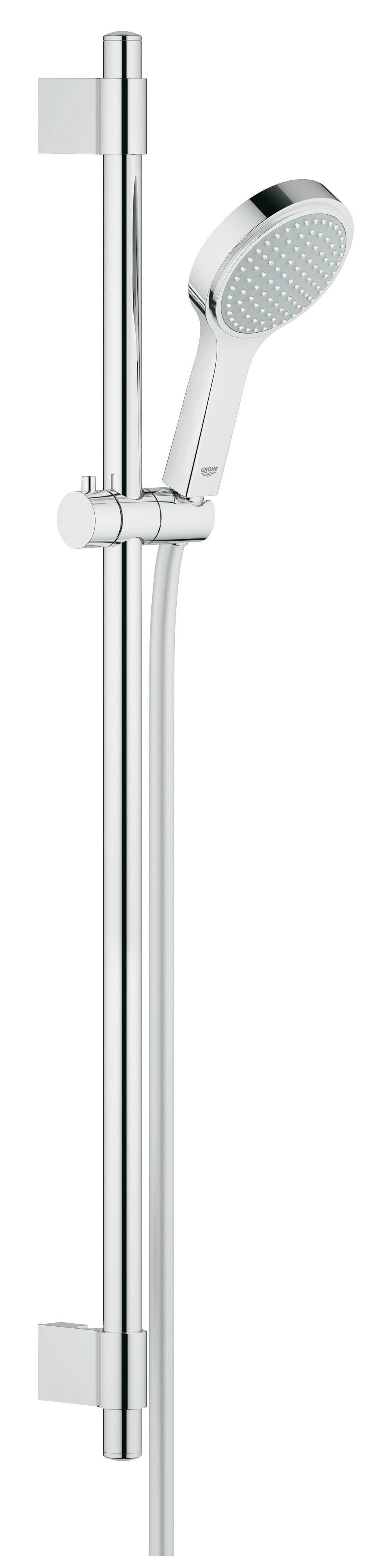Душевой комплект GROHE Power&Soul Cosmopolitan 115 (27755000)27755000Включает в себя: Ручной душ Power&Soul Cosmopolitan 115 (27 660 000) Душевая штанга, 900 мм (27 785 000) С металлическими настенными креплениями Монтажная система GROHE QuickFix™ Plus Душевой шланг 1750 мм (28 388 000) Twistfree против перекручивания шланга GROHE DreamSpray превосходный поток воды GROHE CoolTouch GROHE StarLight хромированная поверхностьGROHE QuickFix Plus(регулируемое расстояние между настенными креплениями штанги позволяет использовать для монтажа уже имеющиеся отверстия в стене ) С системой SpeedClean против известковых отложений Может использоваться с проточным водонагревателемВидео по установке является исключительно информационным. Установка должна проводиться профессионалами! Характеристики: Материал: ABS-пластик, металл. Цвет: хром. Высота штанги: 90 см. Длина шланга: 175 см. Размер упаковки: 103 см х 17 см х 8 см. Артикул: 27755000.