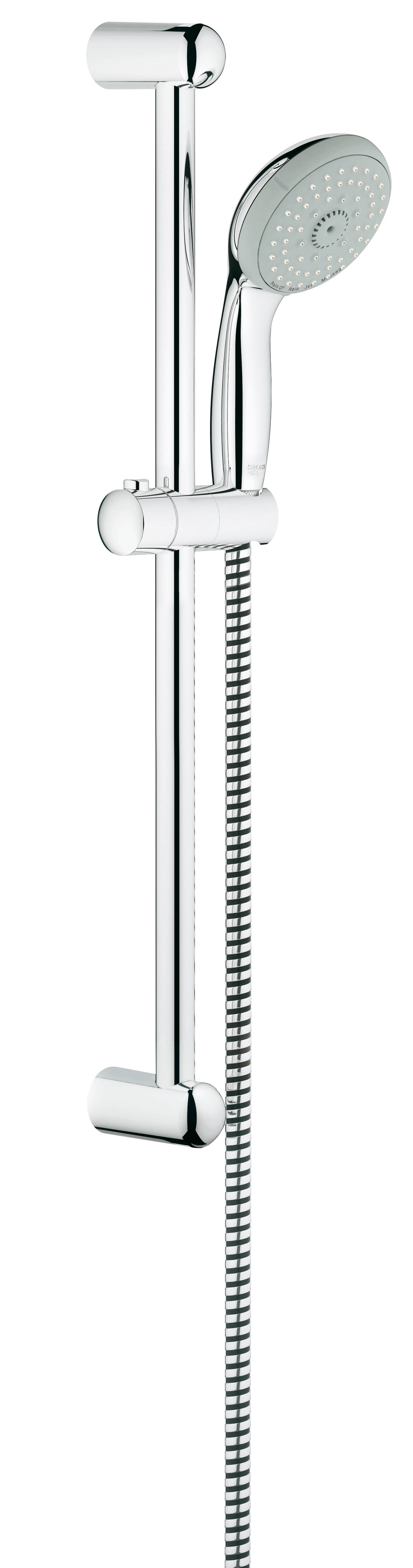 Душевой гарнитур GROHE Tempesta Classic (ручной душ, штанга 600 мм, шланг 1750 мм) (27795000)A50711 1.5GROHE New Tempesta 100: душевой гарнитур со штангой – с четырьмя режимами струи для Вашего комфорта Этот душевой гарнитур из серии GROHE New Tempesta 100, состоящий из ручного душа, душевой штанги и душевого шланга, отличается великолепными функциональными характеристиками и располагает четырьмя режимами струи, с которыми принятие душа превратится в восхитительное удовольствие. После длинного рабочего дня устройте себе расслабляющий массаж головы и шеи с помощью режима Massage, а затем – погрузитесь в наслаждение ласковым летним дождем, переключив душ в режим Rain. В режиме GROHE Rain O? Вас окутает невероятно нежный поток капель, а в интенсивном режиме Jet струя воды поможет тонизировать кожный покров. Режим Jet также поможет Вам быстро ополоснуть душевой поддон после купания. Душевая головка легко очищается от известковых отложений благодаря системе SpeedClean, предотвращающей известкование. Сияющий блеск износостойкого хромированного покрытия GROHE StarLight легко поддерживать в первозданном виде – достаточно протирать его сухой салфеткой. Особенности: Включает в себя:Душевая штанга, 600 мм (27 523 000)Душевой шланг Relexaflex 1750 мм 1/2? x 1/2? (28 154 000)GROHE DreamSpray превосходный поток водыGROHE StarLight хромированная поверхность С системой SpeedClean против известковых отложенийВнутренний охлаждающий канал для продолжительного срока службыShockProof силиконовое кольцо, предотвращающее Повреждение поверхности при падении ручного душаМожет использоваться с проточным водонагревателемВидео по установке является исключительно информационным. Установка должна проводиться профессионалами!