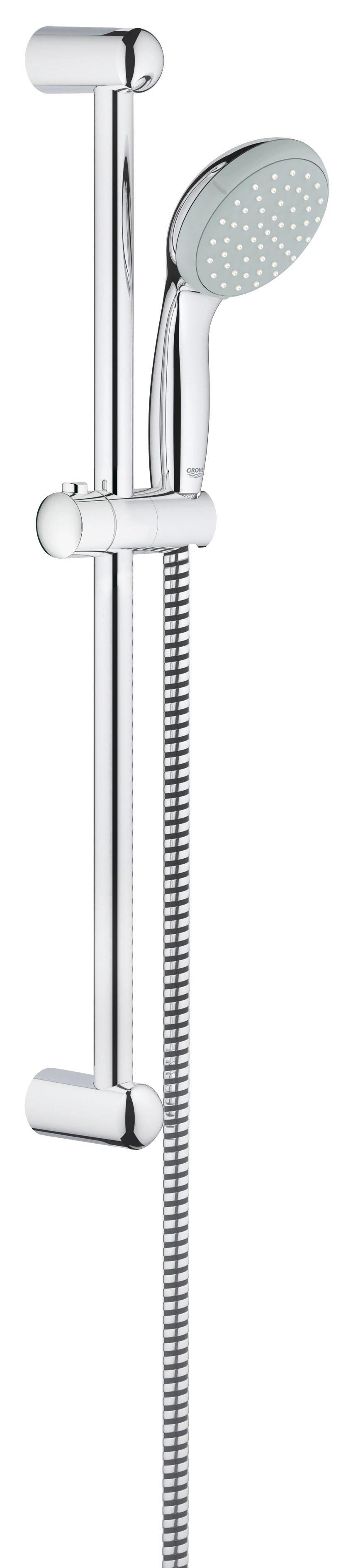 Душевой комплект GROHE Tempesta Classic I (27853000)27853000GROHE New Tempesta 100: душевой гарнитур со штангой длиной 600 мм и душевой головкой диаметром 100 мм для расслабляющих водных процедур в стиле спа Этот душевой гарнитур с настенным держателем из серии New Tempesta 100 в комплекте с душевой головкой, штангой и шлангом, избавит Вас от необходимости поиска и подбора отдельных элементов. Все компоненты гарнитура отличаются эстетичным дизайном, а также высокой износостойкостью и простотой в уходе за счет глянцевого хромированного покрытия GROHE StarLight. Силиконовое кольцо ShockProof защитит ручной душ от повреждений в случае падения. В режиме Rain Вас окутает ласковый поток капель, напоминающий теплый летний дождь, и каждое принятие душа превратится в расслабляющую спа-процедуру. Технология GROHE DreamSpray обеспечивает равномерность душевой струи, а система SpeedClean предотвращает известкование форсунок душевой головки.Особенности:Включает в себя: Ручной душ (27 852 000) Душевая штанга, 600 мм (27 523 000) Душевой шланг Relexaflex 1750 мм 1/2? x 1/2? (28 154 000) GROHE DreamSpray превосходный поток воды GROHE StarLight хромированная поверхностьС системой SpeedClean против известковых отложений Внутренний охлаждающий канал для продолжительного срока службы ShockProof силиконовое кольцо, предотвращающееПовреждение поверхности при падении ручного душа Может использоваться с проточным водонагревателемВидео по установке является исключительно информационным. Установка должна проводиться профессионалами! Характеристики: Материал: ABS-пластик, металл. Высота штанги: 60 см. Длина шланга: 175 см. Размер упаковки: 69 см х 15 см х 7 см. Артикул: м.