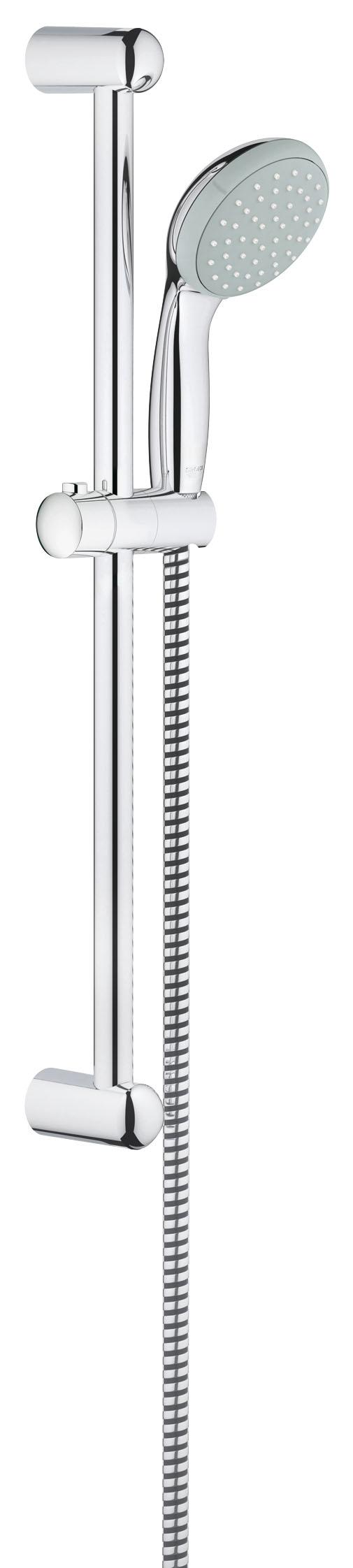 Душевой комплект GROHE New Tempesta, штанга 600мм. (27924000)27924000GROHE New Tempesta 100: душевой гарнитур со штангой длиной 600 мм и душевой головкой диаметром 100 мм, с водосберегающей технологией Если Вам необходимо сочетание великолепных функциональных характеристик и привлекательного дизайна, остановите свой выбор на этом душевом гарнитуре GROHE New Tempesta 100, в комплект которого входят душевая головка, душевая штанга и душевой шланг. Он оснащен водосберегающим механизмом GROHE EcoJoy, который даже при максимальном напоре ограничивает расход воды 9,5 литрами в минуту, позволяя спокойно наслаждаться длительным купанием. В режиме струи Rain поток капель погрузит Вас в ощущение неги, как при посещении спа, в то время как технология GROHE DreamSpray обеспечит равномерность подачи воды через все форсунки. В конструкции душевой головки предусмотрена система SpeedClean, предотвращающая известкование. Глянцевое хромированное покрытие GROHE StarLight достаточно протирать сухой салфеткой для поддержания его безупречной чистоты. Благодаря всем этим преимуществам данный душевой гарнитур является идеальным выбором, который обеспечит Вам ежедневный комфорт.Особенности:Включает в себя: Ручной душ (27 923 000) Душевая штанга, 600 мм (27 523 000) Душевой шланг Relexaflex 1750 мм 1/2? x 1/2? (28 154 000) 9,5 л/мин ограничитель расхода воды GROHE EcoJoy - технология совершенного потока при уменьшенном расходе водыGROHE DreamSpray превосходный поток воды GROHE StarLight хромированная поверхностьС системой SpeedClean против известковых отложений Внутренний охлаждающий канал для продолжительного срока службы ShockProof силиконовое кольцо, предотвращающееПовреждение поверхности при падении ручного душа Может использоваться с проточным водонагревателемВидео по установке является исключительно информационным. Установка должна проводиться профессионалами!