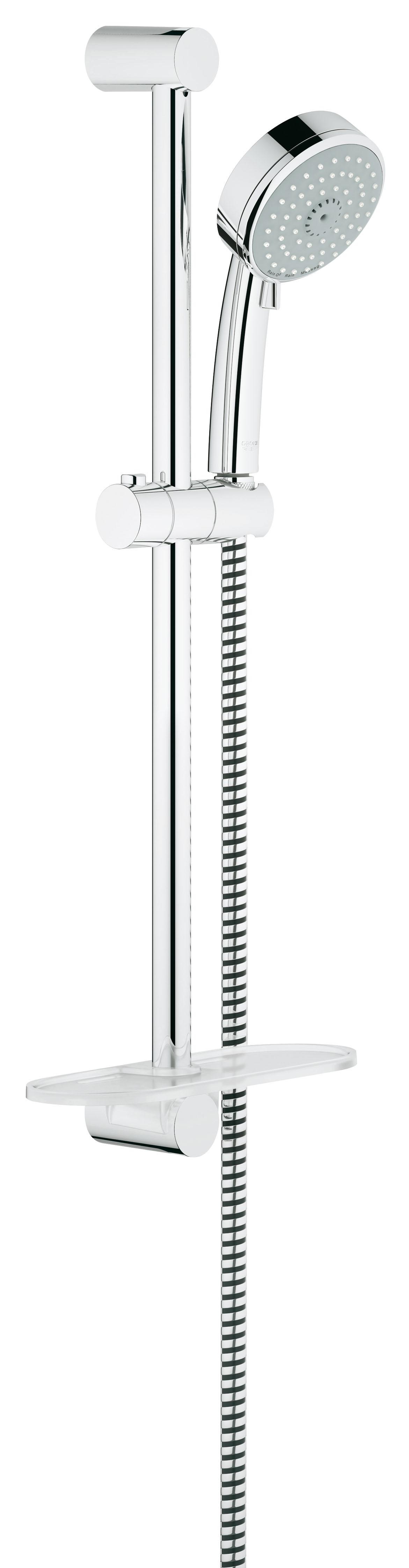 Душевой гарнитур Grohe Tempesta Cosmopolitan 100, 3 режима. (27929001)27929001Состоит из Ручной душ (27 572 001) Душевая штанга, 600 мм (27 521 000) Душевой шланг Relexaflex 1750 мм 1/2? x 1/2? (28 154 000) Полочка GROHE EasyReach™(27 596 000) GROHE DreamSpray превосходный поток воды GROHE StarLight хромированная поверхностьС системой SpeedClean против известковых отложений Внутренний охлаждающий канал для продолжительного срока службы Может использоваться с проточным водонагревателем Минимальное давление 1,0 барВидео по установке является исключительно информационным. Установка должна проводиться профессионалами!