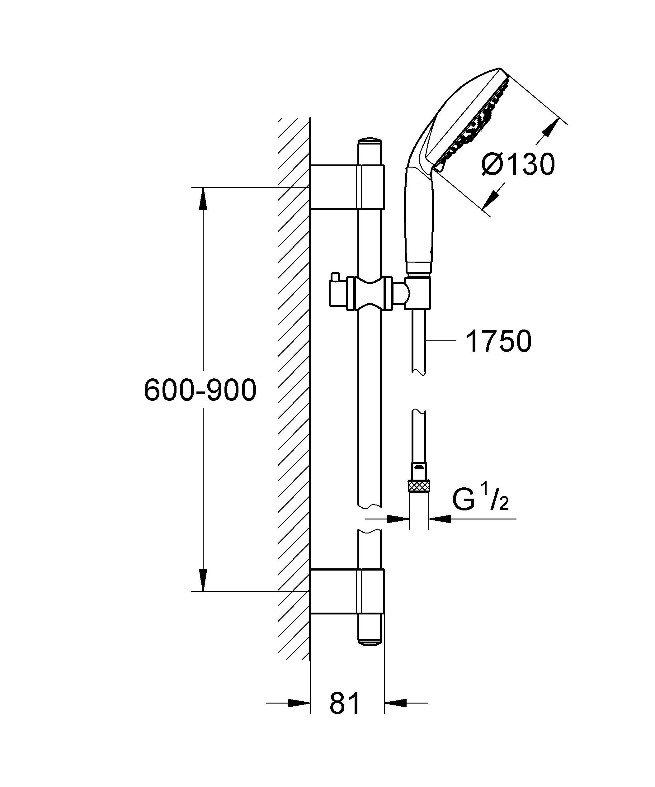 Включает в себя:  Душевая штанга, 900 мм (28 819 000)  GROHE QuickFix Plus(регулируемое расстояние между настенными креплениями штанги позволяет использовать для монтажа уже имеющиеся отверстия в стене )  С металлическими настенными креплениями  Ручной душ Classic (28 764 000)  Душевой шланг 1750 мм (28 388 000)  Twistfree против перекручивания шланга  GROHE StarLight хромированная поверхность   Внутренний охлаждающий канал для продолжительного срока службы    Видео по установке является исключительно информационным. Установка должна проводиться профессионалами!