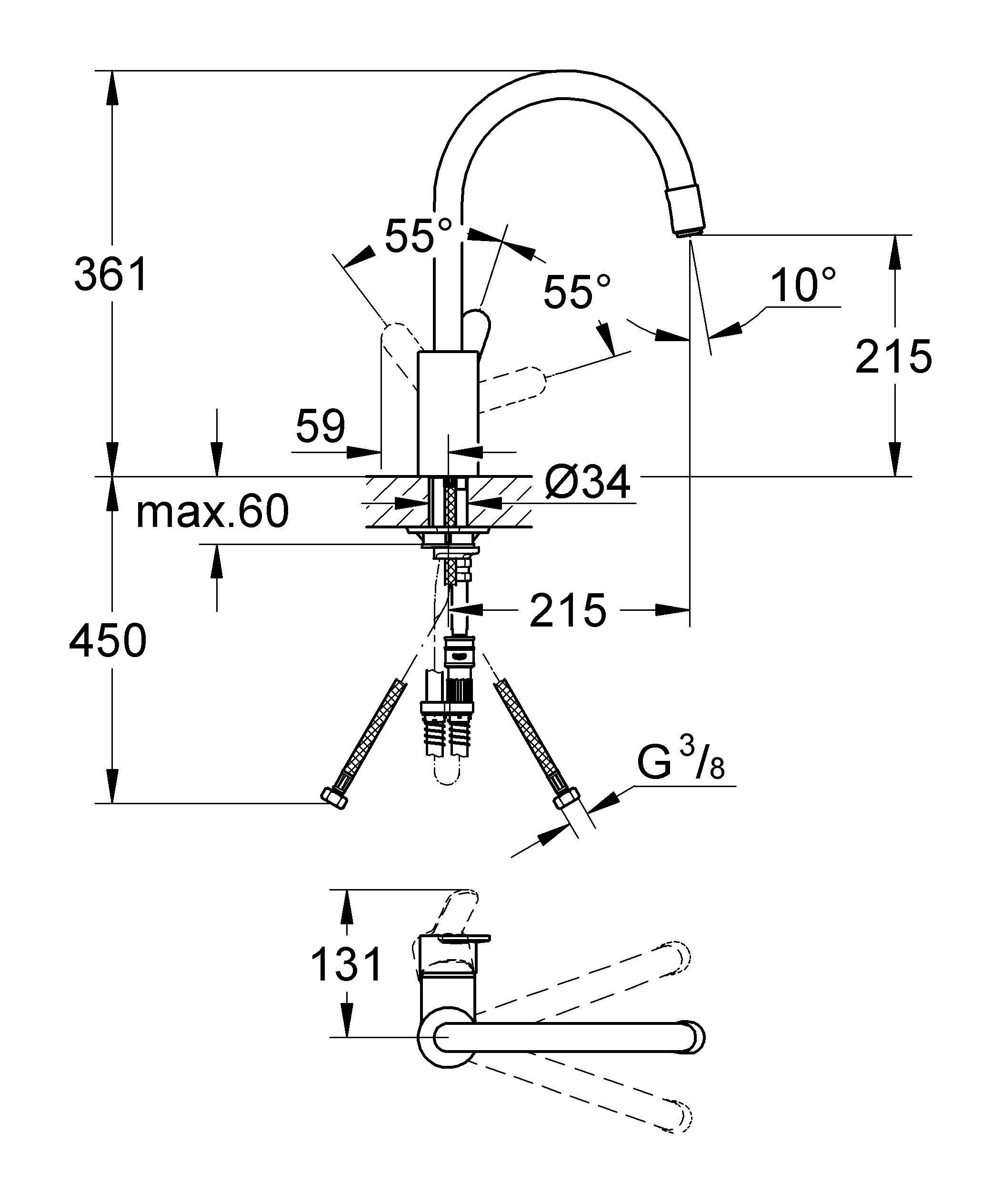 GROHE Eurostyle Cosmopolitan: смеситель для кухни с выдвижной лейкой Этот кухонный смеситель из серии Eurostyle Cosmopolitan обеспечивает всю необходимую свободу движений  при повседневной работе на кухне. Высокий излив с регулируемым радиусом вращения, который можно установить на значение 0°, 150° или 360°, позволяет с легкостью наполнять и ополаскивать крупные емкости. Дополнительно рабочую зону охвата расширяет удобная выдвижная лейка, с помощью которой удобно ополаскивать мойку и мыть овощи. Конструктивная технология GROHE SilkMove обеспечивает плавность и легкость регулировки температуры и напора воды. Благодаря выразительному дизайнерскому решению, данный смеситель для мойки станет центром внимания в интерьере кухни. Хромированное покрытие GROHE StarLight поможет ему сохранять свой безупречный сияющий вид даже после многих лет эксплуатации. Благодаря всем этим преимуществам, а также простоте и быстроте монтажа, данный смеситель является во всех отношениях идеальным выбором для оснащения кухни. Особенности:   Высокий излив  Монтаж на одно отверстие  GROHE SilkMove керамический картридж 35 мм  GROHE StarLight хромированная поверхность   Регулировка расхода воды  Поворотный трубкообразный излив  Радиус поворота 360°  Выдвижной излив с аэратором  Гибкая подводка  С защитой от обратного потока  Система быстрого монтажа    Видео по установке является исключительно информационным. Установка должна проводиться профессионалами!