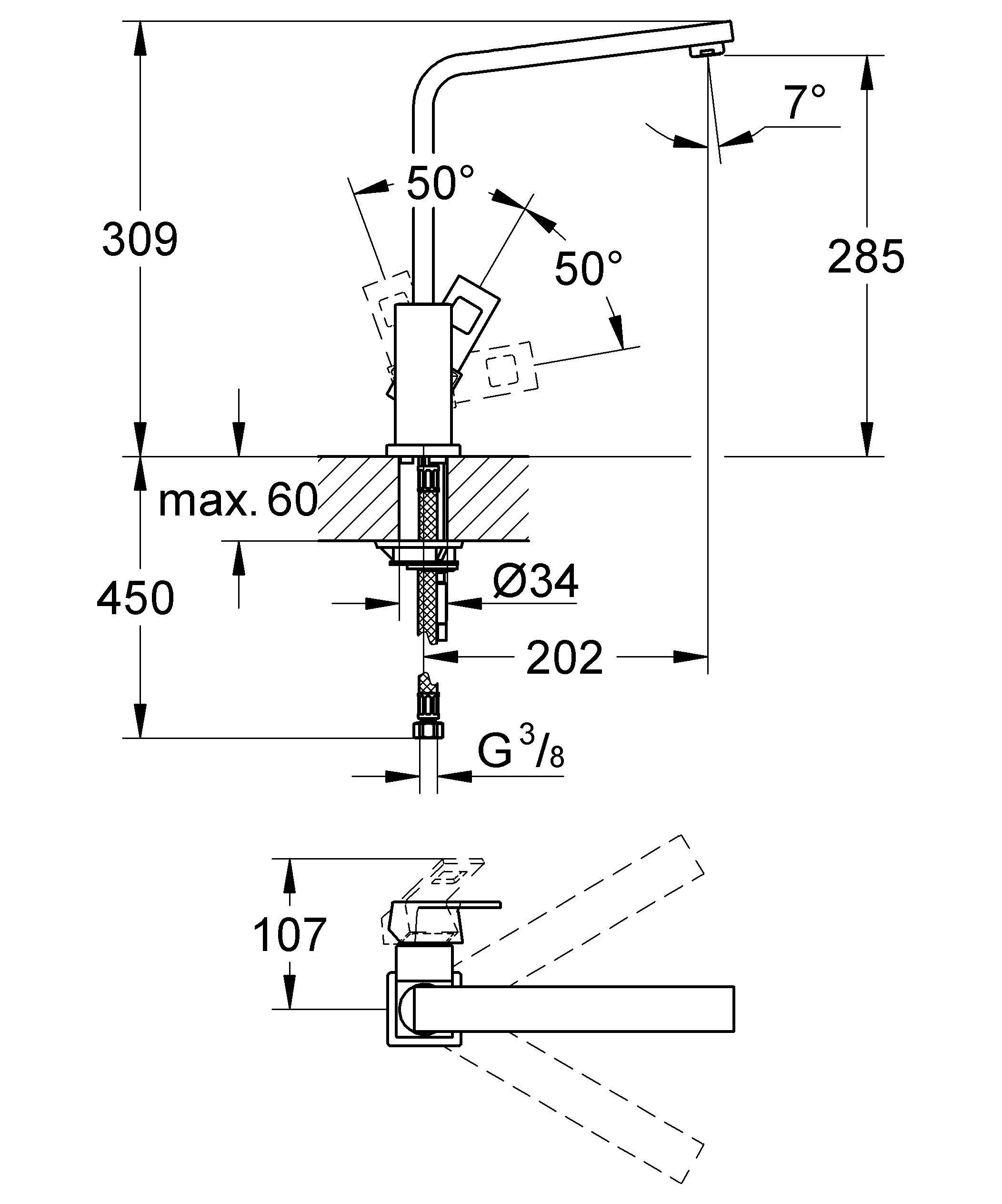 GROHE Eurocube: смеситель для кухни с непревзойденными технологиями, облаченными в эффектное дизайнерское решение Этот кухонный смеситель GROHE Eurocube с лаконичным дизайном, основанным на прямых линиях и квадратных формах, придаст интерьеру Вашей кухни особую выразительность. Благодаря износостойкому глянцевому хромированному покрытию GROHE StarLight, он всегда будет хранить свой безупречный первозданный вид. Эффектный и одновременно с этим практичный высокий излив поможет Вам с легкостью наполнять и ополаскивать высокие емкости. Возможность вращения излива в радиусе 360° обеспечивает максимально возможное удобство при работе на кухне. Технология GROHE SilkMove, которая применяется в конструкции картриджа, гарантирует плавность и легкость регулировки температуры и напора воды. Наша фирменная система упрощенного монтажа позволит выполнить установку этого смесителя для мойки быстро и без затруднений. Перед Вами – совершенный во всех отношениях смеситель кубических форм. Особенности:   Высокий излив  Монтаж на одно отверстие  GROHE SilkMove керамический картридж 28 мм  GROHE StarLight хромированная поверхность   Поворотный литой излив  Радиус поворота 360°  Аэратор  Гибкая подводка  Система быстрого монтажа    Видео по установке является исключительно информационным. Установка должна проводиться профессионалами!