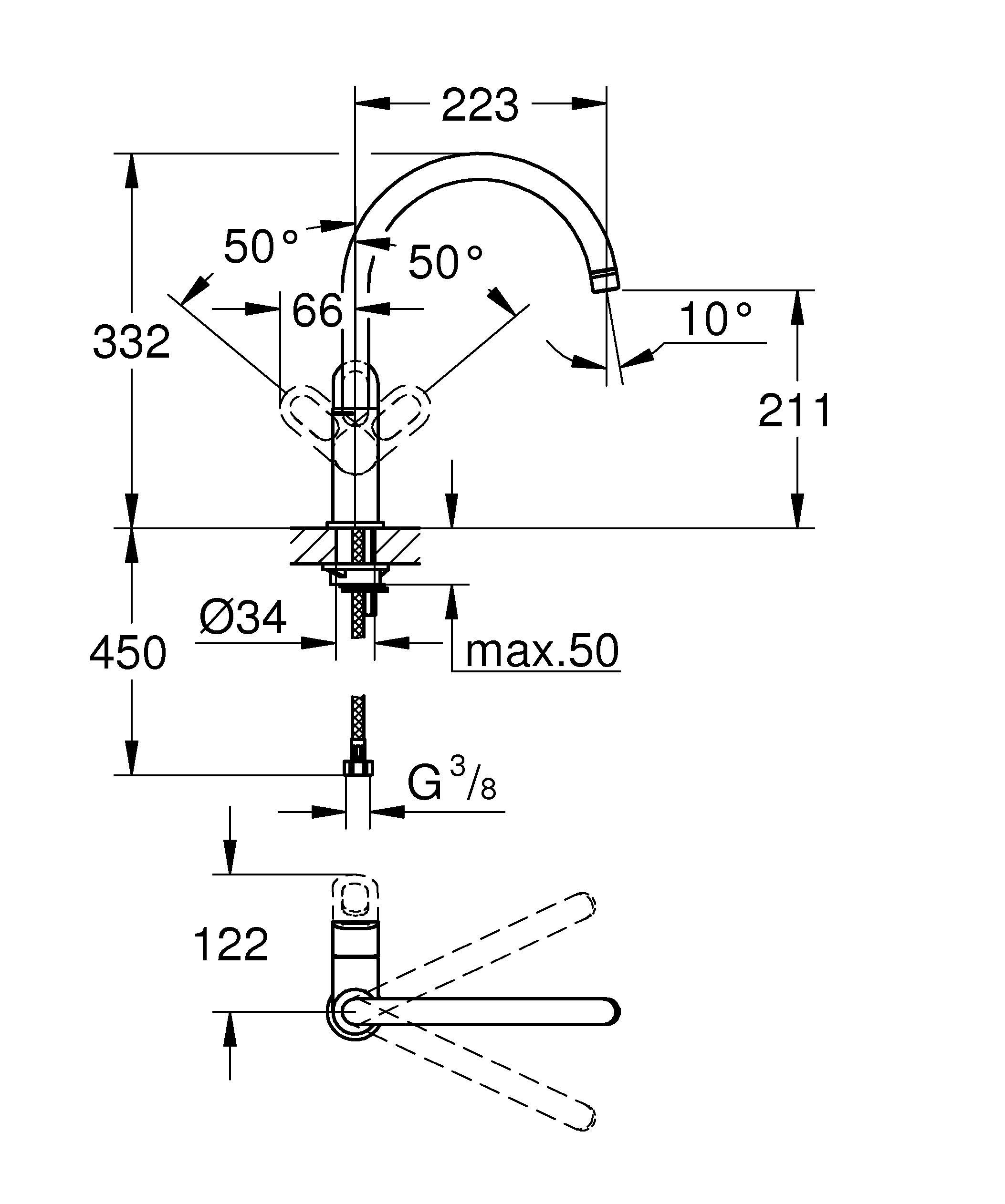 Монтаж на одно отверстие  Металлический рычаг  GROHE SilkMove керамический картридж 28 мм  GROHE StarLight хромированная поверхность   Поворотный трубкообразный излив  Аэратор  Гибкая подводка  Система быстрого монтажа  Минимальное давление 1,0 бар   Видео по установке является исключительно информационным. Установка должна проводиться профессионалами!