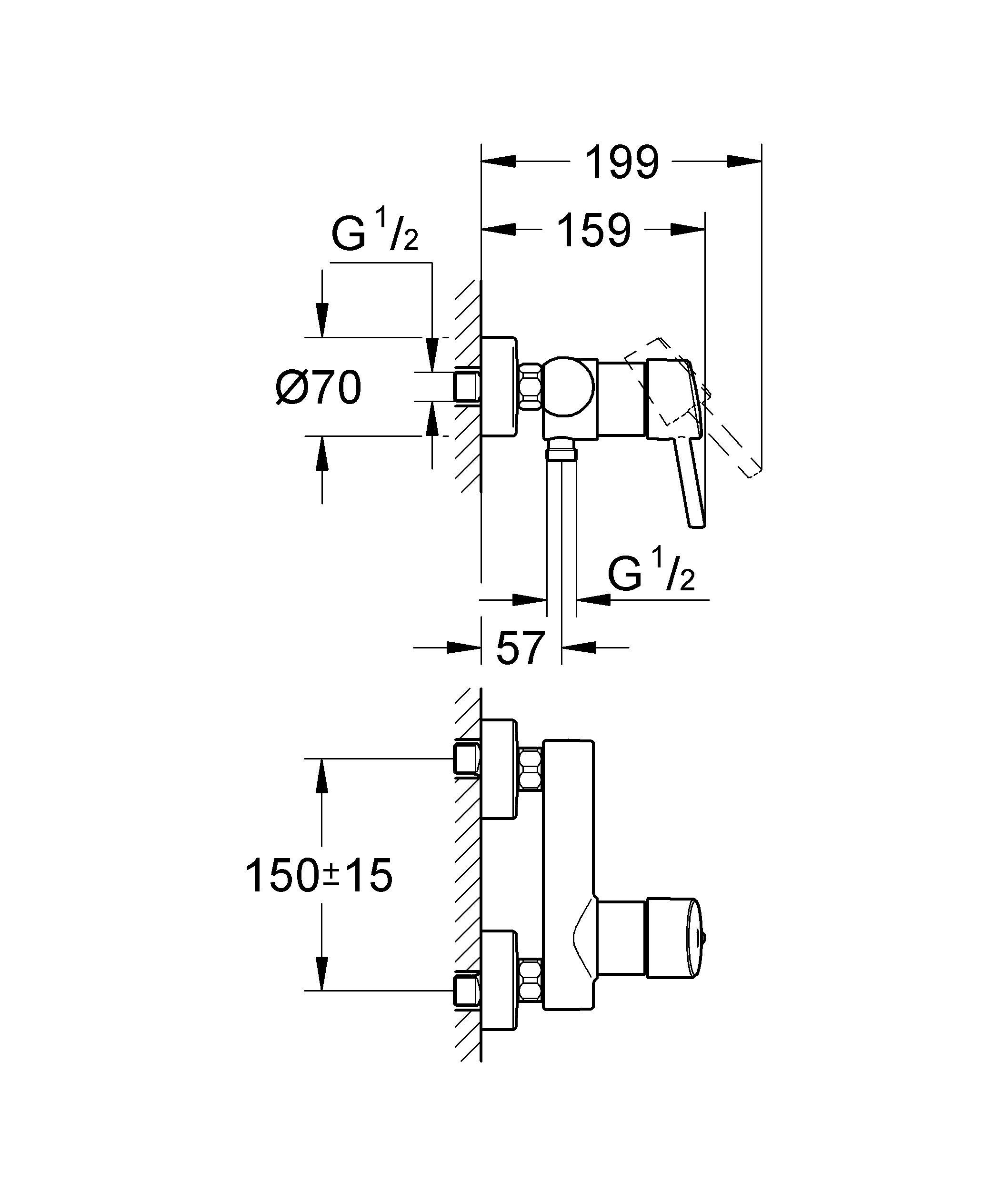 Настенный монтаж  Металлический рычаг  GROHE SilkMove керамический картридж O 46 мм  GROHE StarLight хромированная поверхность   Регулировка расхода воды  Отвод для душа снизу 1/2? со встроенным обратным клапаном  Скрытые S-образные эксцентрики  Дополнительный ограничитель температуры (46 308 000)  С защитой от обратного потока  Класс шума I по DIN 4109    Видео по установке является исключительно информационным. Установка должна проводиться профессионалами! Характеристики:    Материал: металл. Цвет: хром. Количество монтажных отверстий: 2. Размер упаковки: 20 см x 16 см x 12 см. Артикул: 32210001.