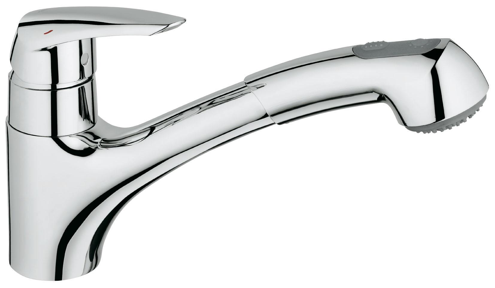 Смеситель для кухни GROHE Eurodisc с выдвижным изливом (32257001)26654GROHE Eurodisc: удобный смеситель для кухни с выдвижной душевой головкой Когда после приготовления вкусного ужина останется гора грязных кастрюль и сковород, выдвижная душевая головка данного кухонного смесителя поможет Вам разделаться с ними со скоростью профессионала. Этот однорычажный смеситель всегда поможет Вам быстро справляться с мытьем посуды и поддержанием мойки в чистоте. Благодаря картриджу с технологией GROHE SilkMove, рычаг управления отличается плавным и легким ходом. Возможность вращения излива в радиусе 140° увеличивает свободу движений при повседневной работе на кухне. Данный смеситель был разработан таким образом, чтобы быть удобным для пользователей во всех отношениях, поэтому он снабжен системой предотвращения известкования SpeedClean и системой упрощенного монтажа, позволяющей выполнить его установку быстро и без затруднений. Благодаря сияющему хромированному покрытию GROHE, этот надежный смеситель Eurodisc станет эффектным дополнением к оснащению Вашей кухни. Особенности: Монтаж на одно отверстиеGROHE SilkMove керамический картридж O 46 ммGROHE StarLight хромированная поверхность Регулировка расхода водыПоворотный литой излив с Ограничителем поворотаВстроенный выдвижной излив С возвратной пружинойАвтоматический переключатель:Стандартная/душевая струяГибкая подводкаСистема быстрого монтажаВидео по установке является исключительно информационным. Установка должна проводиться профессионалами! хром.