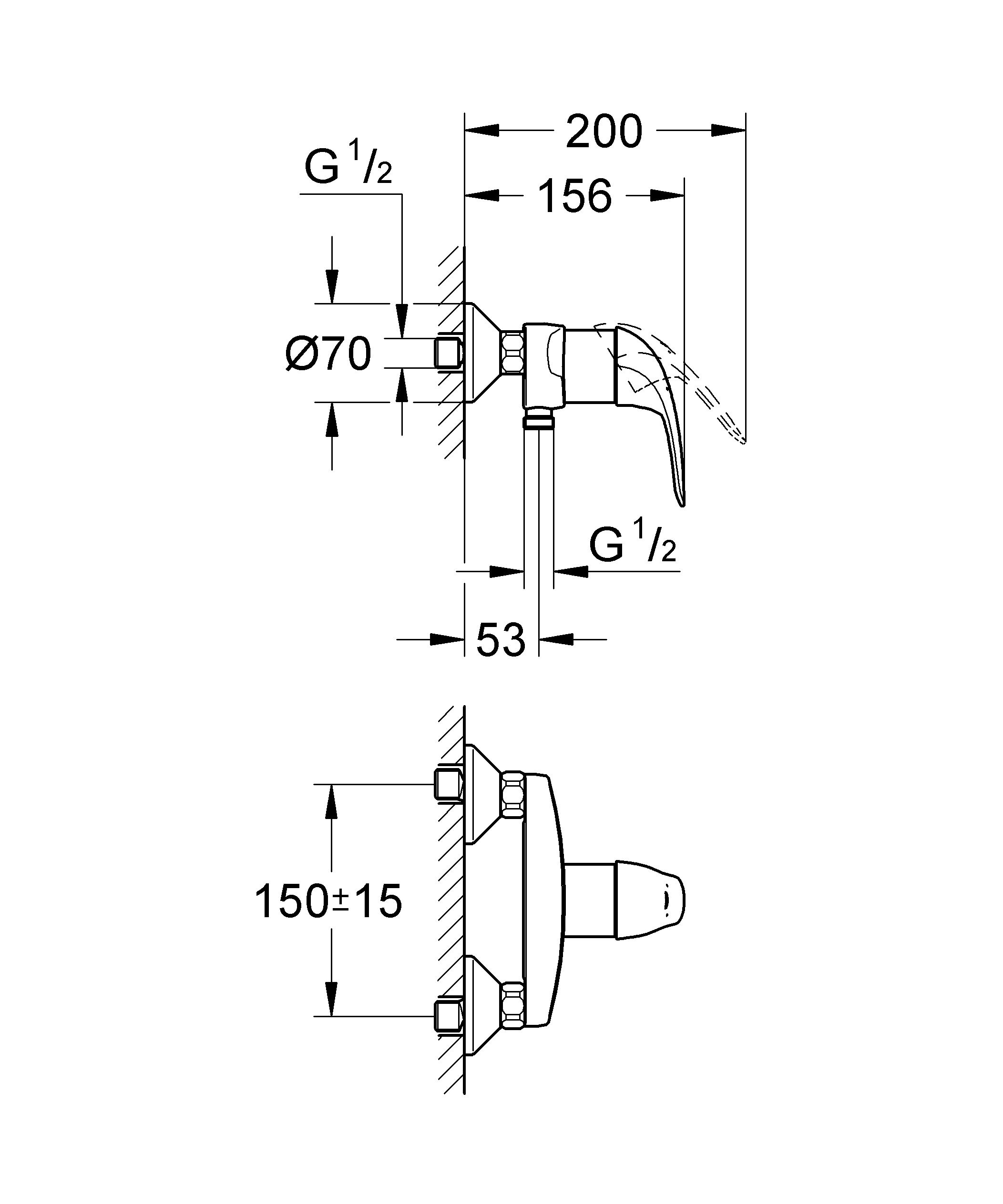 Настенный монтаж  Металлический рычаг  GROHE SilkMove керамический картридж O 46 мм  GROHE StarLight хромированная поверхность   Отвод для душа снизу 1/2? со встроенным обратным клапаном  Скрытые S-образные эксцентрики  Отражатели из металла  Дополнительный ограничитель температуры  С защитой от обратного потока  Класс шума I по DIN 4109    Видео по установке является исключительно информационным. Установка должна проводиться профессионалами! Характеристики:    Материал: металл. Цвет: хром. Количество монтажных отверстий: 2. Размер упаковки: 20 см x 16 см x 12 см. Артикул: 32740000.