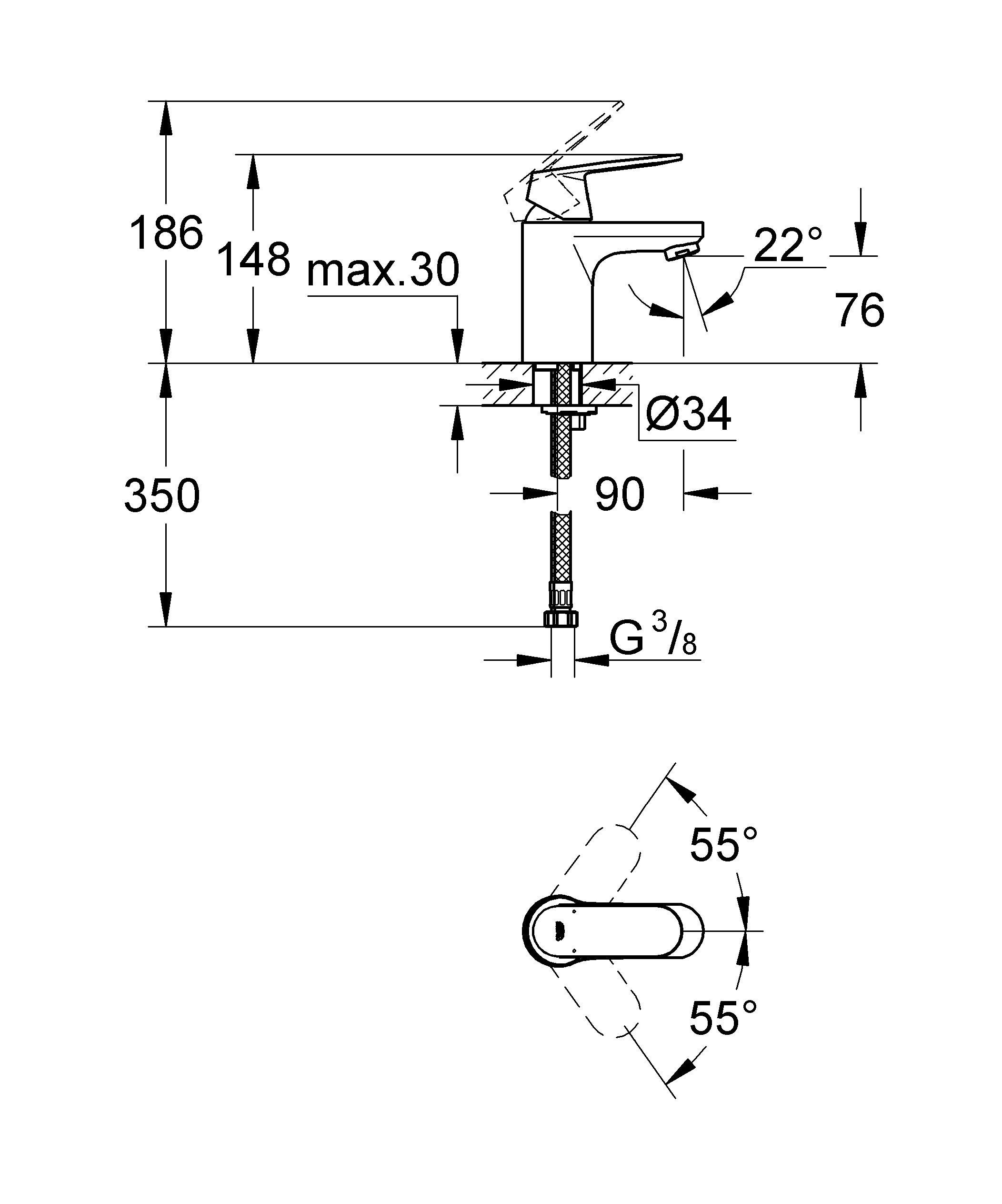 Долговечность в сочетании со стильным дизайном — один из стандартов GROHE: смеситель Eurosmart Cosmopolitan даже после многолетней эксплуатации будет иметь такой же плавный ход, как и в первый день работы. Он позволяет с легкостью регулировать температуру и напор воды. Благодаря элегантному дизайну он великолепно впишется в интерьер любой ванной комнаты, а излив стандартной высоты позволит использовать его для комплектации всех стандартных раковин. GROHE воплощает собой высочайшее качество по справедливой цене. Особенности   монтаж на одно отверстие  металлический рычаг  GROHE SilkMove керамический картридж 35 мм  GROHE StarLight хромированная поверхность  регулировка расхода воды  возможность установки мин. расхода 2,5 л/мин  аэратор  гладкий корпус  гибкая подводка  GROHE QuickFixTM быстрая монтажная система  дополнительный ограничитель температуры (46375000)  класс шума I по DIN 4109   Видео по установке является исключительно информационным. Установка должна проводиться профессионалами!