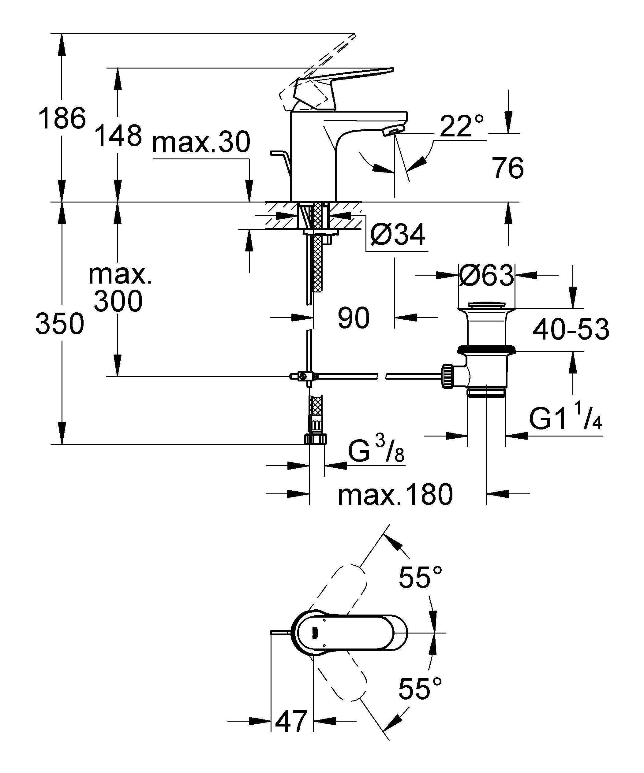 Долговечность и простота в уходе: смеситель для ванной комнаты Eurosmart Cosmopolitan совместим со всеми раковинами обычной конфигурации и идеально приспособлен для всех повседневных водных процедур. Применяемая в нем технология GROHE SilkMove обеспечит легкость управления температурой и напором воды, а об экономном расходе воды позаботится водосберегающий механизм. Особенности   монтаж на одно отверстие  металлический рычаг  GROHE EcoJoy Технология совершенного потока при уменьшенном расходе воды   GROHE SilkMove керамический картридж 35 мм  GROHE StarLight хромированная поверхность  регулировка расхода воды  возможность установки мин. расхода 2,5 л/мин  GROHE EcoJoy SpeedClean аэратор с ограничением расхода воды 5,7 л/мин  сливной гарнитур 1 1/4?  гибкая подводка  GROHE QuickFixTM быстрая монтажная система  ограничитель температуры  класс шума I по DIN 4109   Видео по установке является исключительно информационным. Установка должна проводиться профессионалами!