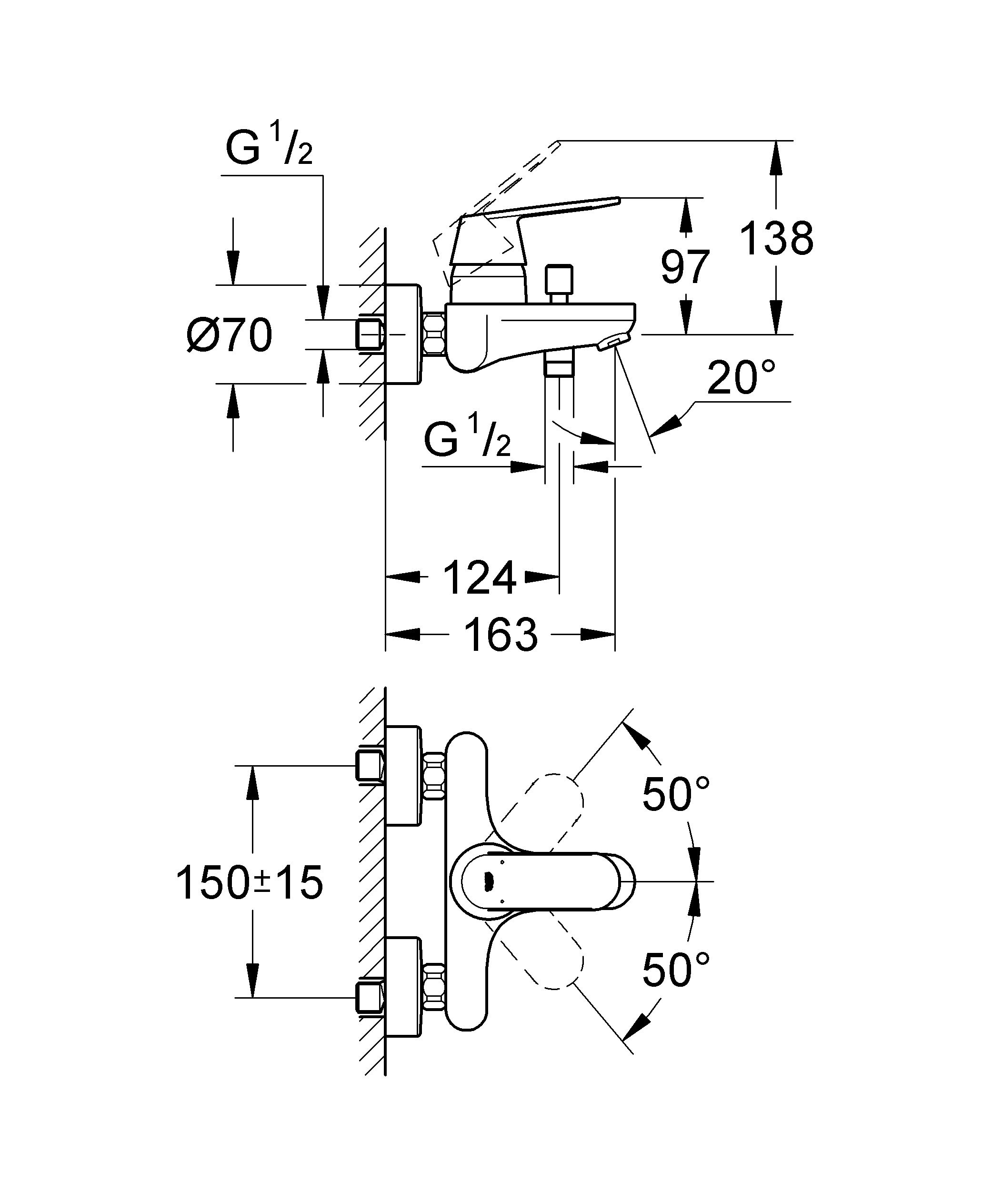 Настенный монтаж  Металлический рычаг  GROHE SilkMove керамический картридж O 46 мм  GROHE StarLight хромированная поверхность   Регулировка расхода воды  Возможность установки мин. расхода 2,5 л/мин.  Автоматический переключатель: ванна/душ  Встроенный обратный клапан в душевом отводе 1/2?  Аэратор  Скрытые S-образные эксцентрики  Дополнительный ограничитель температуры (46 308 000)  С защитой от обратного потока  Класс шума I по DIN 4109     Видео по установке является исключительно информационным. Установка должна проводиться профессионалами! Характеристики:    Материал: металл. Цвет: хром. Количество монтажных отверстий: 2. Размер упаковки: 20 см x 18 см x 16 см. Артикул: 32831000.