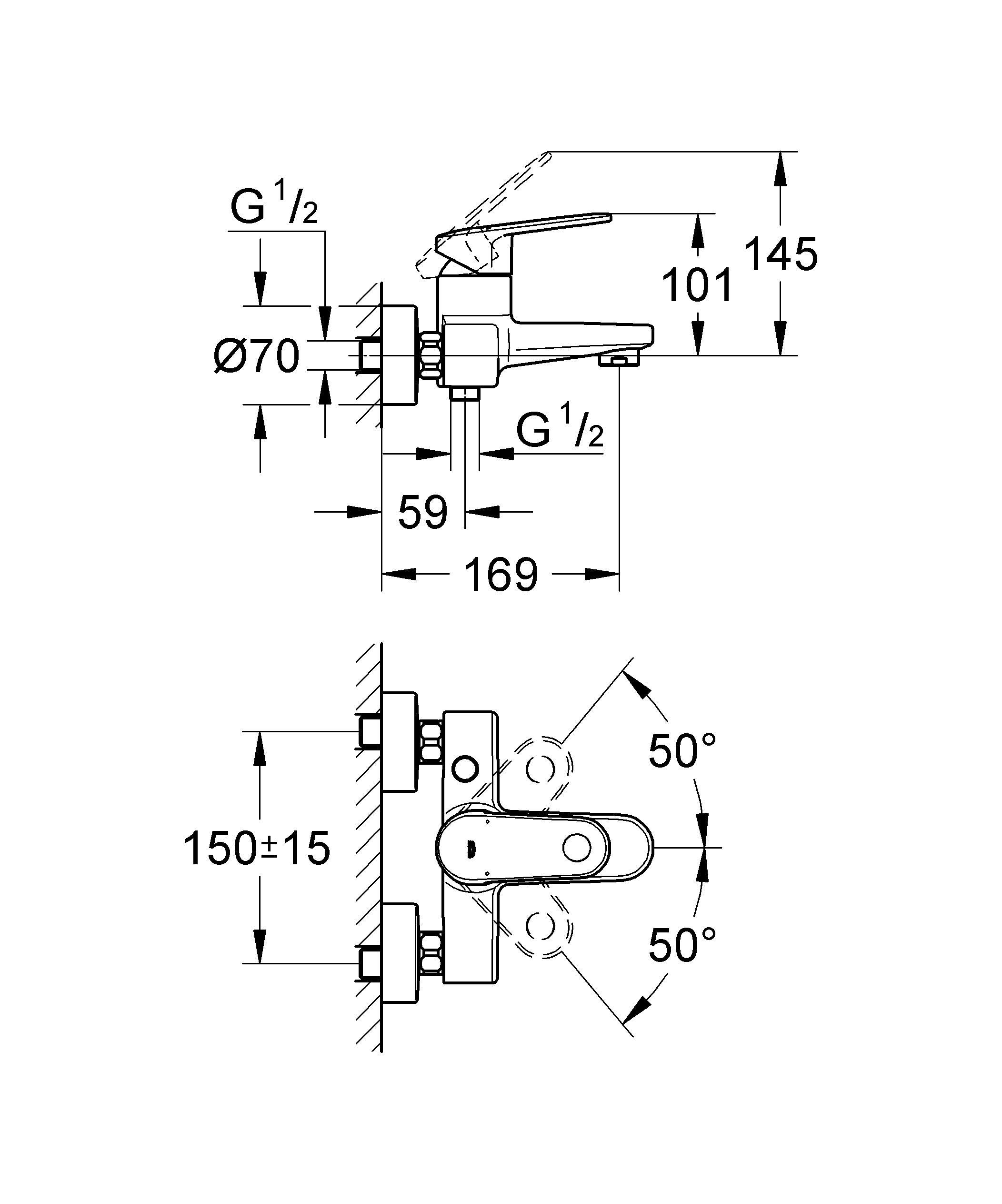 Настенный монтаж  Металлический рычаг  GROHE SilkMove керамический картридж O 46 мм  GROHE StarLight хромированная поверхность   Регулировка расхода воды  Возможность установки мин. расхода 2,5 л/мин.  Автоматический переключатель: ванна/душ  Встроенный обратный клапан в душевом отводе 1/2?  Аэратор с функцией SpeedClean  Скрытые S-образные эксцентрики  Ограничитель температуры  С защитой от обратного потока    Видео по установке является исключительно информационным. Установка должна проводиться профессионалами!