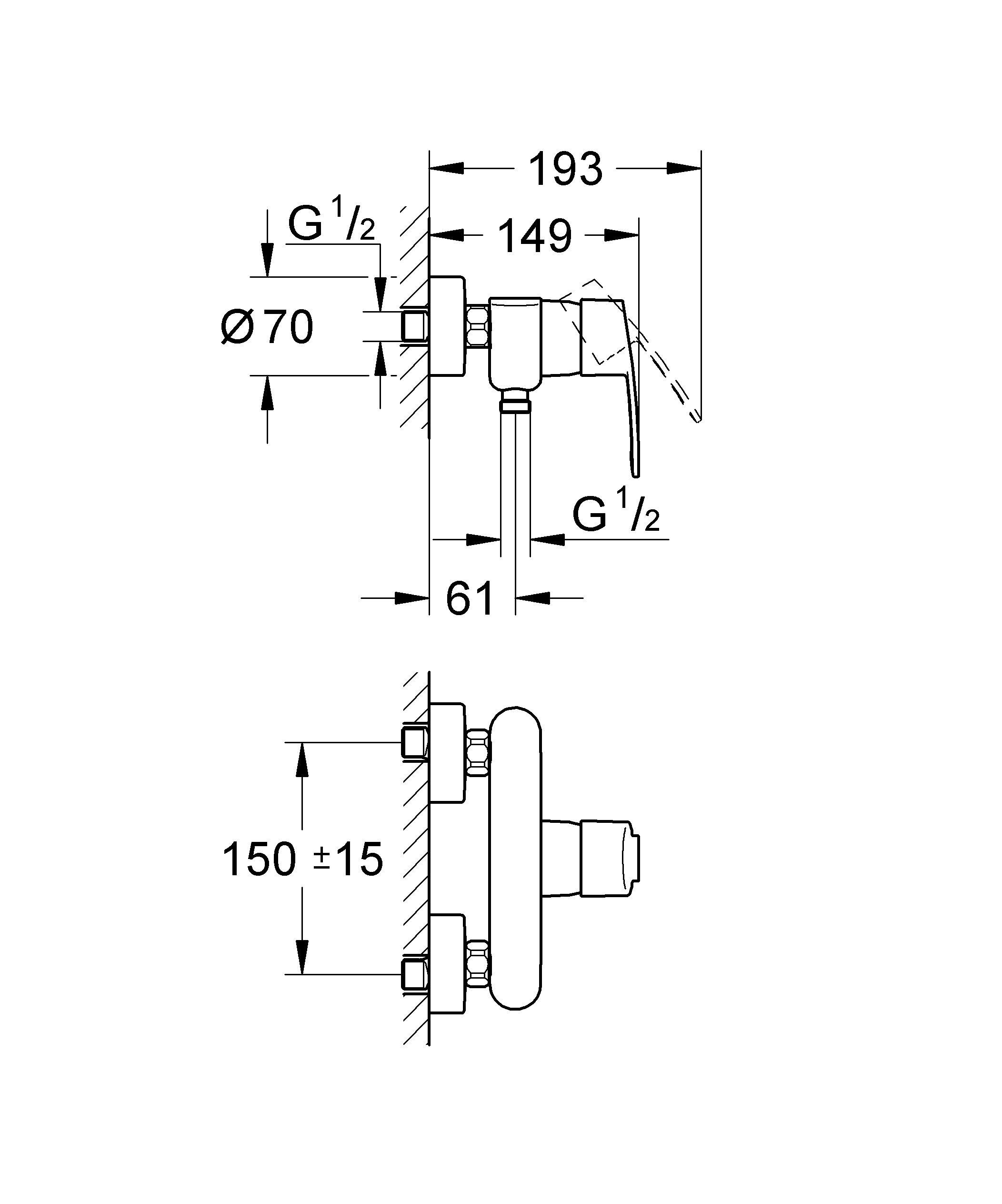 Настенный монтаж  Металлический рычаг  GROHE SilkMove керамический картридж O 46 мм  GROHE StarLight хромированная поверхность   Регулировка расхода воды  Отвод для душа снизу 1/2?  Встроенный обратный клапан  Скрытые S-образные эксцентрики  Дополнительный ограничитель температуры (46 308 000)  С защитой от обратного потока  Класс шума I по DIN 4109    Видео по установке является исключительно информационным. Установка должна проводиться профессионалами! Характеристики:    Материал: металл. Цвет: хром. Количество монтажных отверстий: 2. Размер упаковки: 18 см x 20 см x 16 см. Артикул: 33590002.