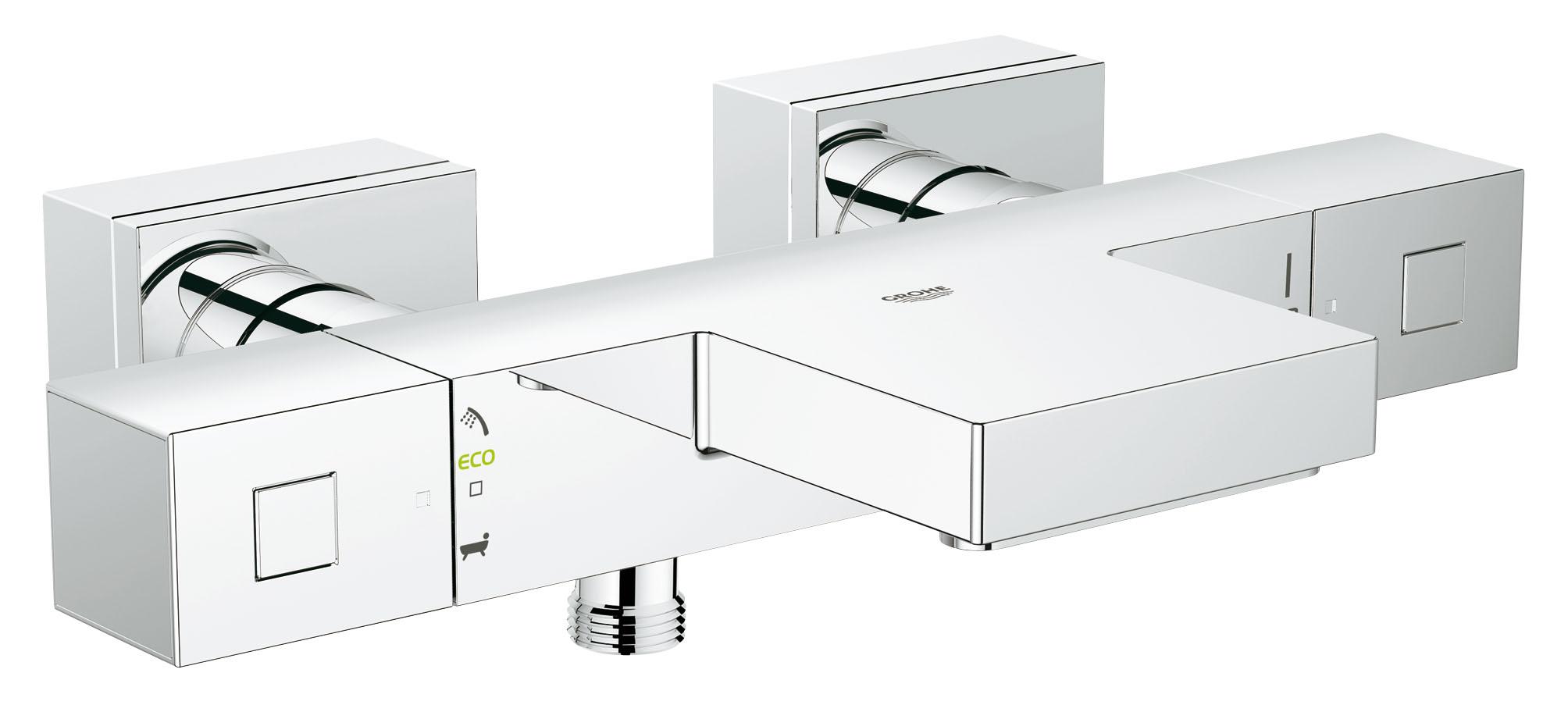 Смеситель для ванны и душа GROHE Grohtherm Cube, с термостатом. 3449700034497000GROHE Grohtherm Cube: термостат для ванны с самыми современными технологиями для роскошных банных процедур Благодаря своему широкому каскадному изливу этот прогрессивный высокоточный термостат привнесет в интерьер Вашей ванной комнаты особый шик. Технология GROHE TurboStat обеспечивает мгновенную подачу воды заданной температуры через выпуск для ванны или душ. Стопор SafeStop убережет Вас и Ваших детей от ошпаривания. Регулятор AquaDimmer Eco позволит Вам перенаправлять поток воды между выпуском для ванны и душем, при желании ограничивая напор в целях экономии воды. Кольцевая шкала GROHE EasyLogic делает процесс настройки температуры и напора воды простым и интуитивно понятным. Благодаря износостойкому хромированному покрытию GROHE StarLight, Ваш термостат навсегда сохранит свой безупречно сияющий вид. Для поддержания его безупречной чистоты достаточно протирания сухой салфеткой.Особенности:Настенный монтаж GROHE StarLight хромированная поверхностьGROHE TurboStat встроенный термоэлемент GROHE EcoJoy - технология совершенного потока при уменьшенном расходе водыВстроенный стопор смешанной воды GROHE AquaDimmer Plus многофункциональный - регулировка расхода - переключатель: ванна/душ - GROHE EcoButton (встроенная кнопка с функцией экономии воды для душа) Стопор безопасности при 38°C Отвод для душа снизу 1/2? Аэратор Встроенные обратные клапаны Грязеулавливающие фильтры Скрытые S-образные эксцентрики С защитой от обратного потока GROHE XL WaterfallВидео по установке является исключительно информационным. Установка должна проводиться профессионалами!