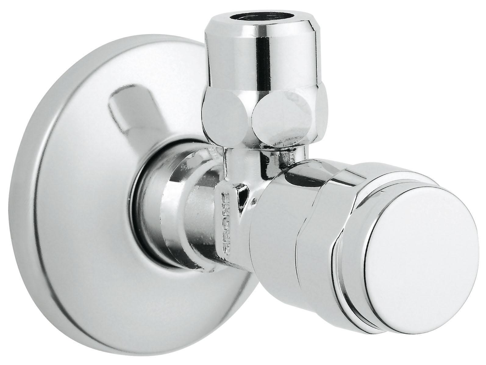 Вентиль угловой для подключения Grohe Eggeman, 1/241263000ВентильЦанговый зажим 3/8?Надвижная розеткаGROHE StarLight хромированная поверхность