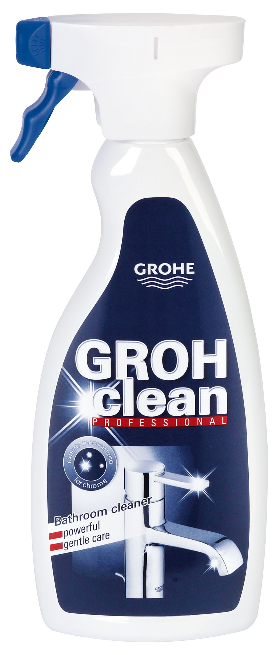GROHclean - чистящее средство для сантехники и ванной комнаты.    Устраняет:   · Известковый налет,    · Водяные пятна,    · Грязь,    · Жир   · Остатки мыла в ванной, туалете и на кухне.   GROHclean основан на лимонной кислоте и является идеальным чистящим средством для смесителей, аксессуаров, ванн, керамики, душевых   кабин и плитки.    Применение:    GROHclean нанести губкой, щеточкой или тряпочкой на поверхность и дать некоторое время подействовать. Затем тщательно смыть водой.    Примечание:   Не допускать попадания GROHclean в руки детей, несмотря на надежное крепление пульверизатора. Так как GROHclean основан на   лимонной кислоте, он не может применяться для чистки материалов, чувствительных к действию кислот, таких как мрамор, терраццо и некоторых   видов эмали.   Идеально сочетается с патентованными технологиями обработки поверхностей Grohe: GROHE ProGuard, GROHE HyperClean, AQUACERAMIC,   GROHE StarLight, SuperSteel       500 мл в бутылке с пульверизатором   Инструкция на нескольких языках:  RU, DE, EN, FR, ES, IT, NL, DK, UA, PL, GR, RO      Как выбрать качественную бытовую химию, безопасную для природы и людей. Статья OZON Гид