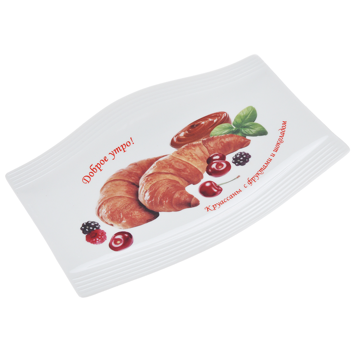 Блюдо LarangE Круассаны с фруктами и шоколадом, 25 х 17,5 см589-320Блюдо LarangE Круассаны с фруктами и шоколадом изготовлено из прочного высококачественного фарфора. Изделие украшено изображением сырников.Пусть ваше утро начинается с незабываемого завтрака!Можно использовать в СВЧ печах, духовом шкафу и холодильнике. Не применять абразивные чистящие вещества.Размер блюда: 25 см х 17,5 см. Высота блюда: 2 см.