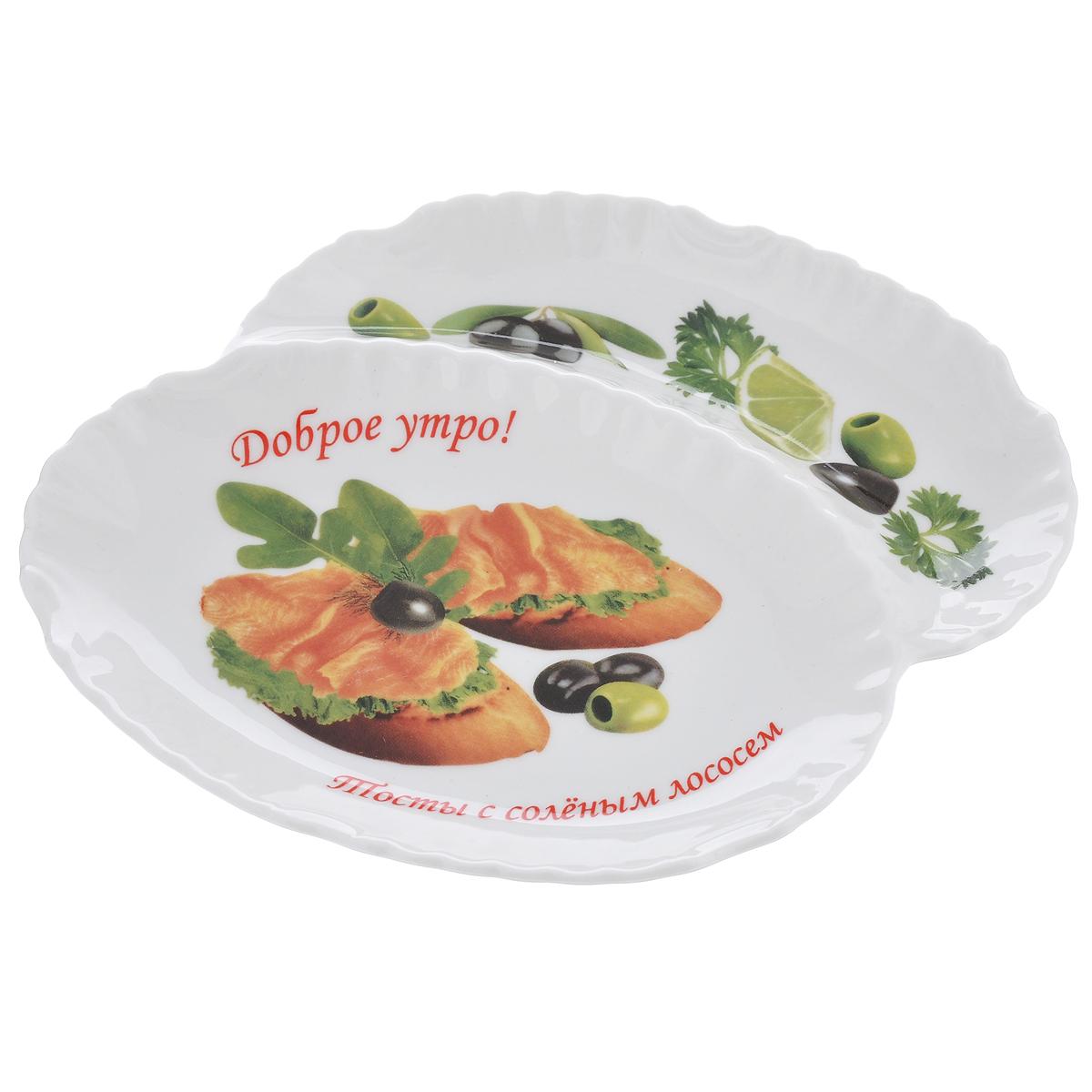 Менажница LarangE Тосты с соленым лососем, 2 секции589-303Изящная менажница LarangE Тосты с соленым лососем, выполненная из высококачественного прочного фарфора, состоит из двух секций. Некоторые блюда можно подавать только в менажнице, чтобы не произошло смешение вкусовых оттенков гарниров. Также менажница может быть использована в качестве посуды для нескольких видов салатов или закусок. Менажница LarangE Тосты с соленым лососем станет замечательной деталью сервировки и великолепным украшением праздничного стола.Можно использовать в СВЧ печах, духовом шкафу и холодильнике. Не применять абразивные чистящие вещества.Количество секций: 2.Размер секций менажницы: 16 см х 10,5 см; 16 см х 4,5 см.Высота стенки менажницы: 2,5 см.