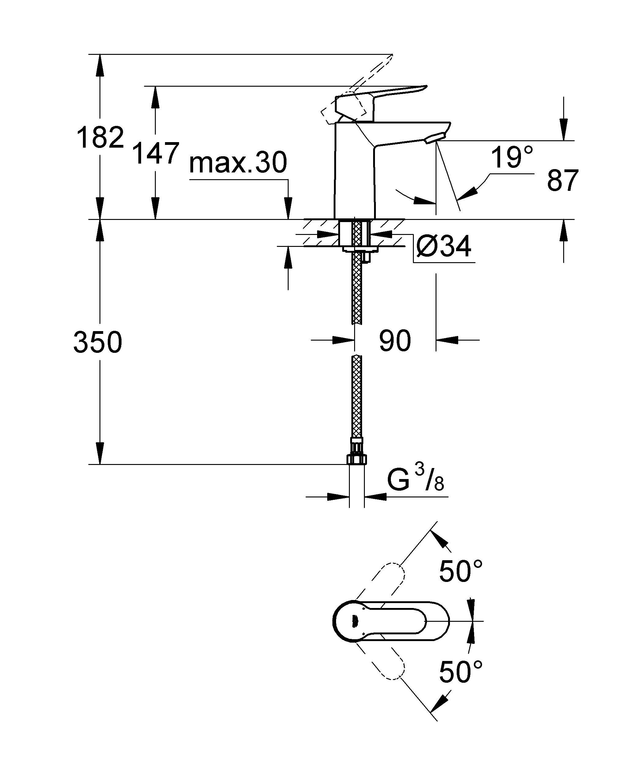 Монтаж на одно отверстие  Металлический рычаг  GROHE SilkMove керамический картридж 28 мм  GROHE StarLight хромированная поверхность   GROHE EcoJoy  5.7 л/мин  Аэратор  Гладкий корпус  Гибкая подводка  Система быстрого монтажа  Минимальное давление 1,0 бар   Видео по установке является исключительно информационным. Установка должна проводиться профессионалами!