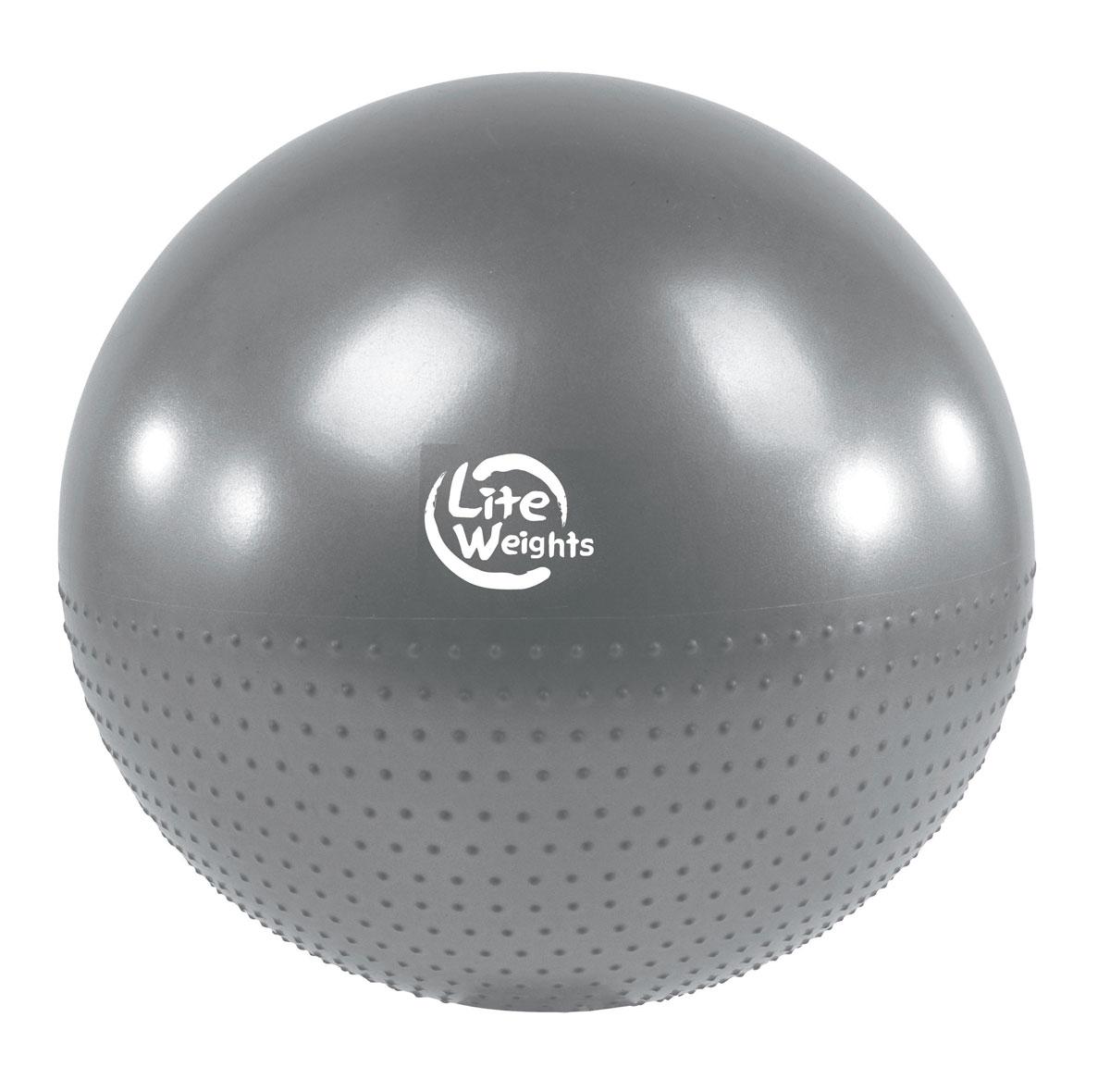 Мяч гимнастический Lite Weights, массажный, цвет: серебристо-серый, диаметр 65 смВВ010-26Гимнастический мяч Lite Weights является универсальным тренажером для всех групп мышц, помогает развить гибкость, исправить осанку, снимает чувство усталости в спине.Мяч незаменим на занятиях фитнесом и физкультурой. Главная функция мяча - снять нагрузку с позвоночника и разгрузить суставы. Именно упражнения с применением гимнастических мячей способны тренировать спину и улучшать осанку, бороться с искривлениями позвоночника, в особенности у детей и подростков. Массажные гимнастические мячи обеспечивают одновременные массаж и тренировку мышц туловища и конечностей, улучшая тонус и увеличивая силу мышц, а также способствуют укреплению кровеносно-сосудистой системы. Гимнастические мячи могут использоваться также при массаже новорожденных. Преимущества мяча:- снабжен системой антивзрыв - специальная технология, предупреждающая мяч от разрыва при сильной нагрузке; - способствует развитию и укреплению мышц спины, пресса, ног и рук;- используется при занятиях гимнастикой, аэробикой, фитнесом, а также для оздоровительного массажа;- способствует восстановлению мышечных функций и улучшению здоровья в целом;- максимальный вес пользователя: 100 кг.УВАЖЕМЫЕ КЛИЕНТЫ!Обращаем ваше внимание на тот факт, что мяч поставляется в сдутом виде. Насос входит в комплект.