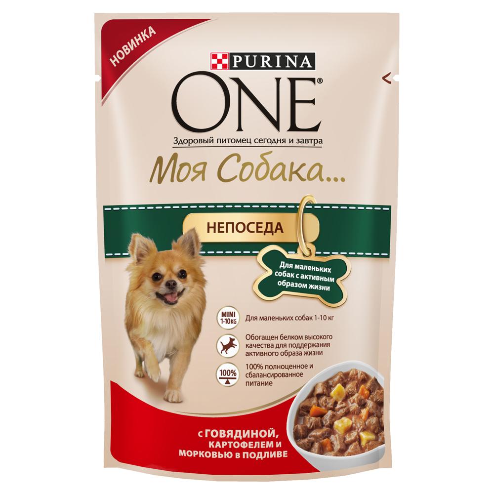 Корм консервированный Purina One Мини Моя Собака...Непоседа, для взрослых собак мелких пород с активным образом жизни, с говядиной, картофелем и морковью в подливе, 100 г12263868Корм консервированный Purina One Мини Моя Собака...Непоседа - высококачественное питание из мягких кусочкови овощей в подливе легко усваивается и разработаноспециально для собак мелких пород старше одного года. Ваша собака сможет наслаждаться вкусным кормом каждый день.Преимущества:- содержит антиоксиданты для поддержания крепкой иммунной системы,- для маленьких собак 1-10 кг,- легкая усвояемость,- 100% полноценное и сбалансированное питание.Состав: мясо и продукты его переработки (из которых говядина 4%), овощи (4% картофеля из сухого картофеля, 4% моркови из сухой моркови), экстракт растительного белка, продукты переработки овощей, рыба и продукты ее переработки, сахар, растительные и животные жиры, минеральные вещества, витамины, красители.Добавленные вещества, МЕ/кг: витамин А: 1629; витамин D3: 227; витамин E: 247, железо: 15,55; йод: 0,59; медь: 1,48; марганец: 2,72; цинк: 42,1; селен: 0,035.Гарантированные показатели: белок 12,3%, жир 4,7%, сырая зола 1,8%, сырая клетчатка 1,5%, влажность 76,4%.Товар сертифицирован.Уважаемые клиенты! Обращаем ваше внимание на возможные изменения в дизайне упаковки. Качественные характеристики товара остаются неизменными. Поставка осуществляется в зависимости от наличия на складе.